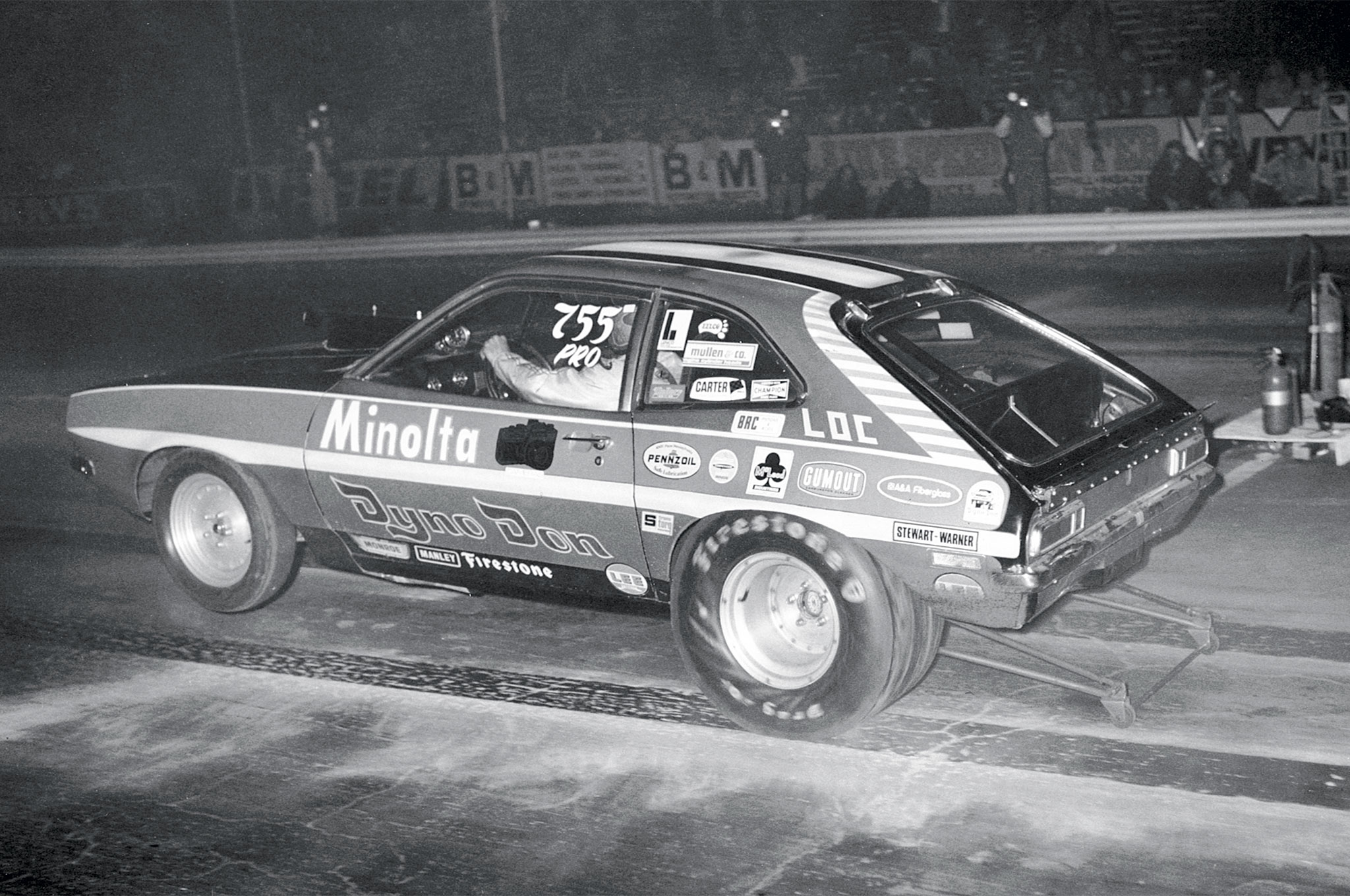 In late 1973, Car Craft's Jon Asher covered what must have been a killer West Coast match race at Irwindale, which attracted all the big Pro Stock guns. Dyno went all the way to the final, losing to Bill Bagshaw and his Redlight Bandit Mopar after running a series of 8.90s at 150-plus mph. If you have a stack of old, musty Car Crafts underneath your bed, you'll find the story in the Feb. 1974 issue.