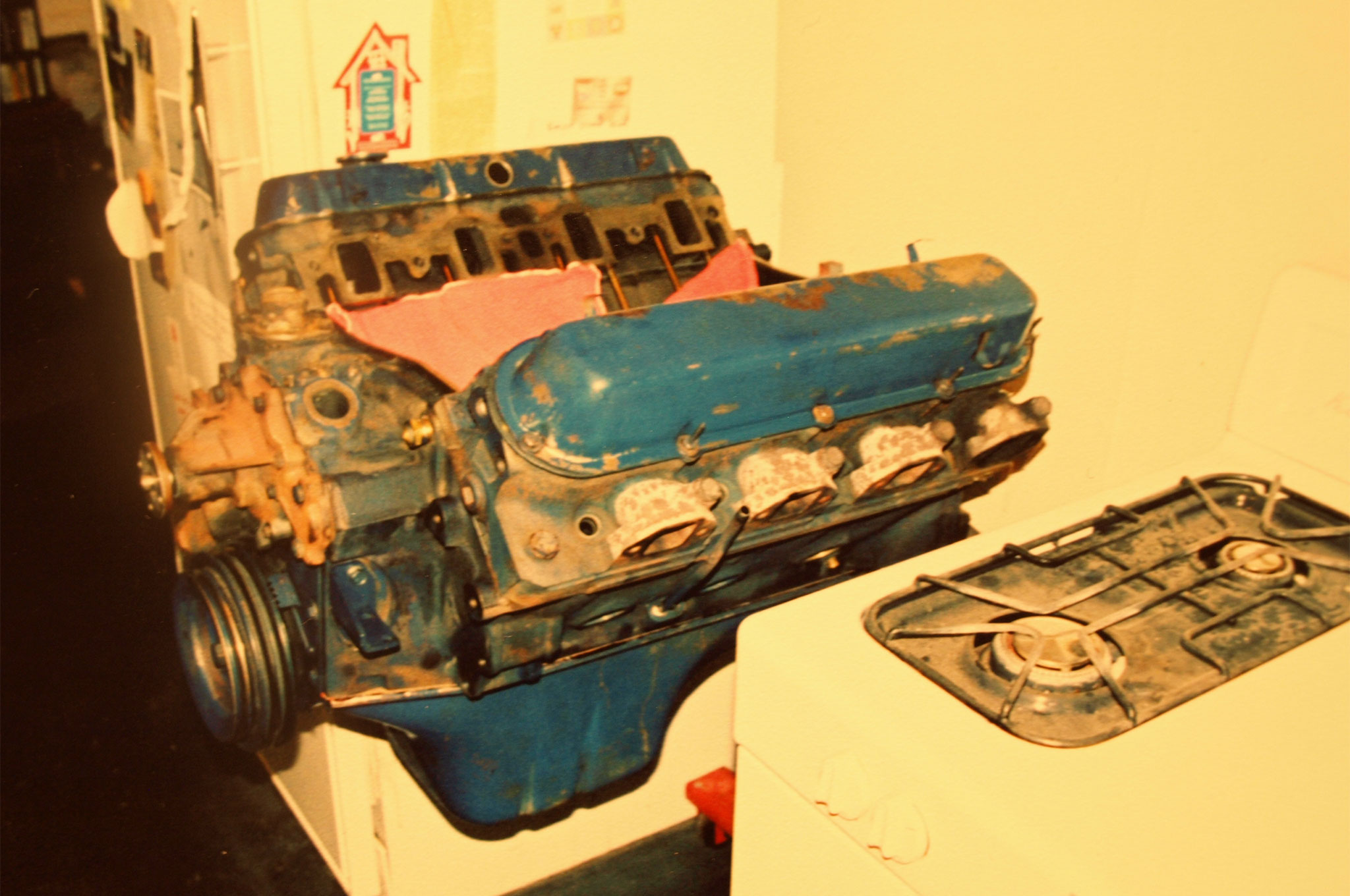 I've always had a fascination with Cadillac 500-inch V8s. I saw them all over the place during my weekly junkyard tours and wrote several HRM articles touting the virtues of cheap torque. I pulled this one from a 1970 Eldorado and stuffed it into a 1981 Chevy Chevette for the April 2000 issue. While the Bad Seed Chevette was being prepared for the V8 infusion, the big 8.2 stayed safe in the kitchen.