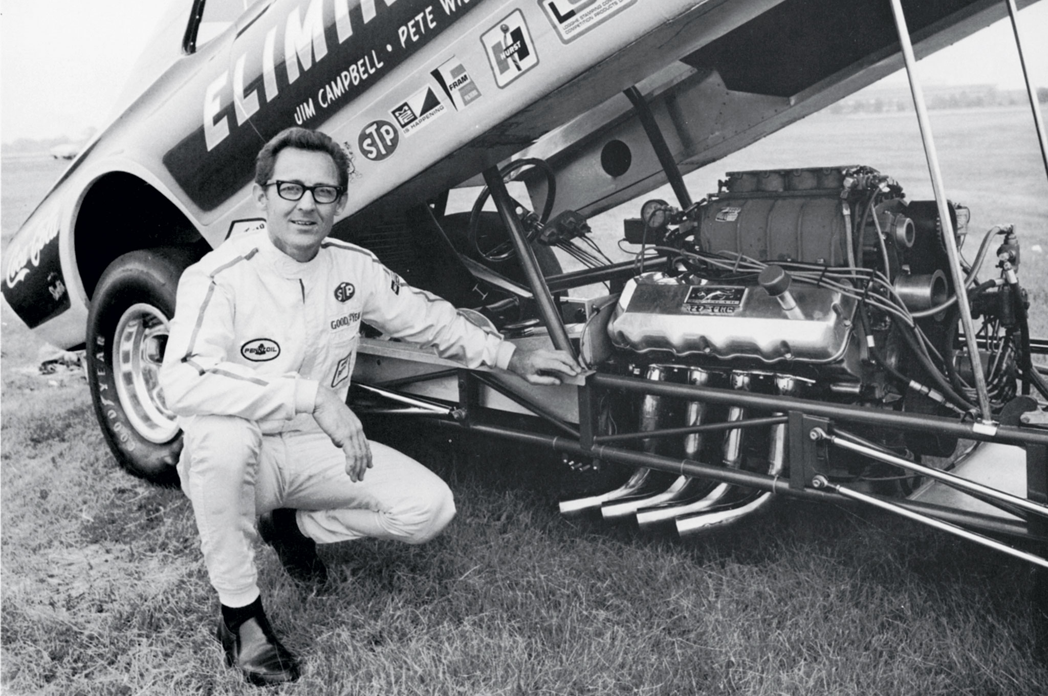 Another famous Nicholson car was his 1968 Mercury Eliminator Cougar. This was the last blown, nitro Funny Car he drove before returning to heads-up Super Stockers and the Modified Production Maverick the following year.