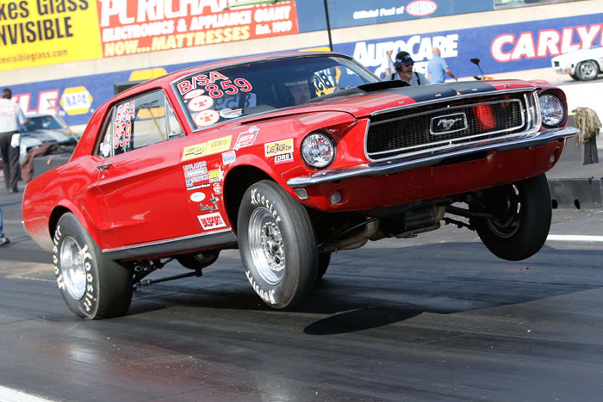Thomas Sundstrom made the trek from Uppsala, Sweden, to race his 1968 B/SA Mustang. The Coupe runs a 428 and ran 10.40s.