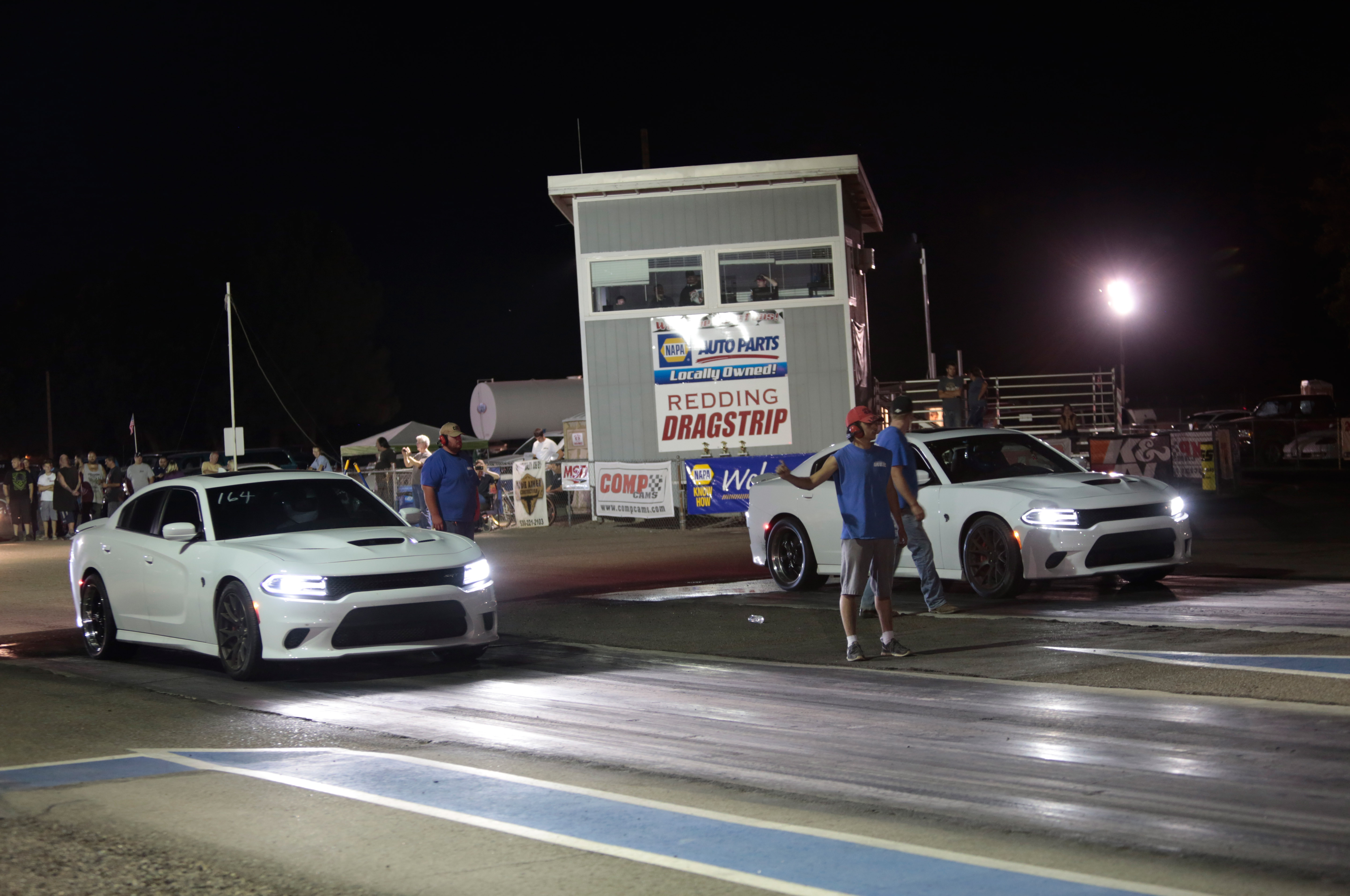 At Redding we were reunited with our Hellcat pal from Sacramento, Duane Roots. He'd gone right out after our Wednesday race and bought wheels and drag radials. The track lined us up for a three-round match race and the crowd went wild!