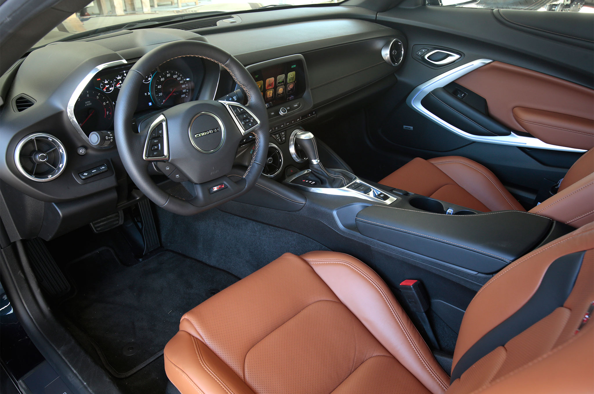 The black eight-speed SS we drove had the Kalahari leather interior. Red and white leather accents are also offered, for a wide variety of paint and interior options.