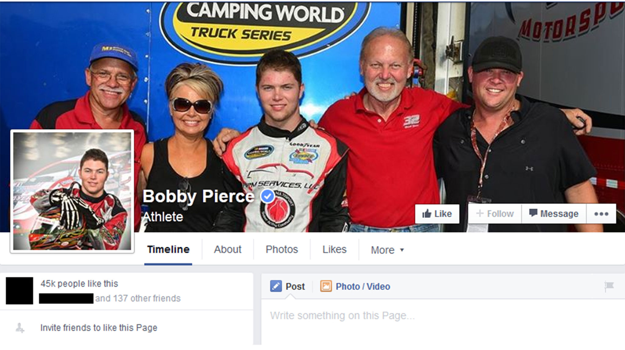Your personal Facebook page might work, but look at the number of followers here. Your personal page has a cutoff point. Bobby Pierce, whose career is just beginning, is already at 45,000 and growing.