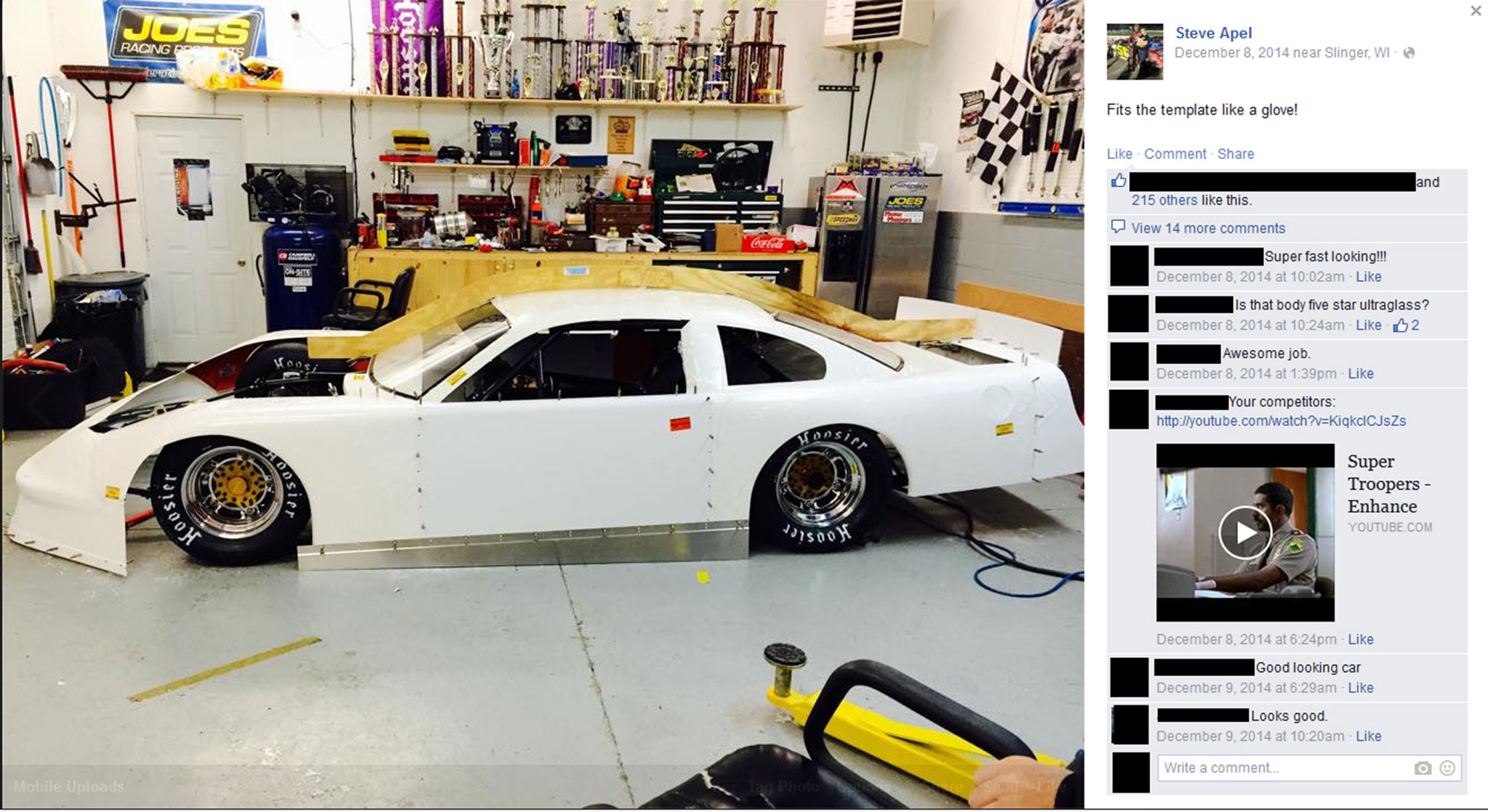 Fans love updates. Pictures of race cars can get them excited for the upcoming season. This was posted to a personal page, so those who are friends with the driver can see it. Remember, if you do post to your personal page, post to your racing page too. Don't miss those fans.