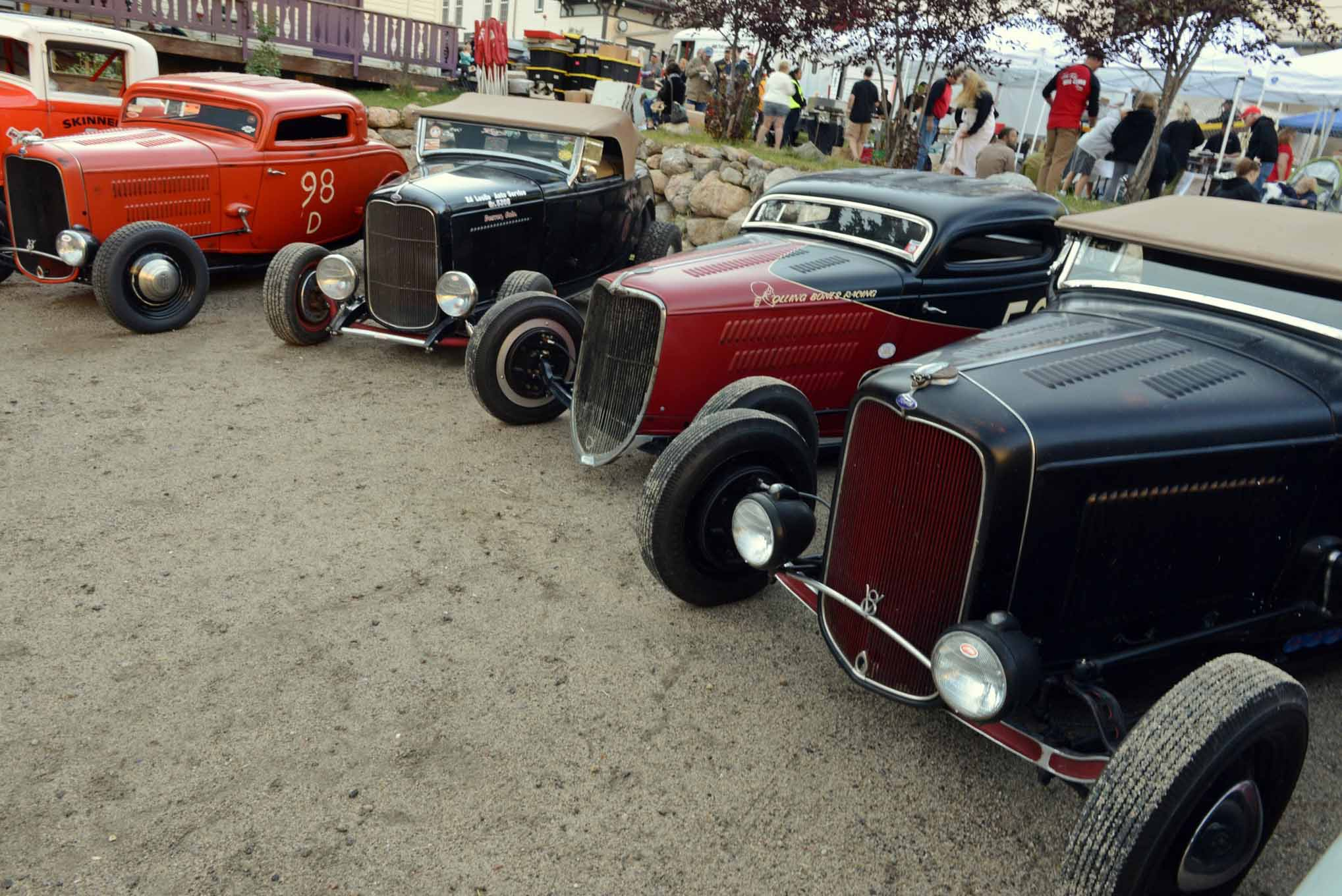 "Pretty ""Mades""  all in a row; here at the 2015 Colorado Hot Rod Hill Climb, you'll always find some of the best iron this country has to offer. From left to right: Dave Scrogg's Rolling Bones–built 98d three-window, Ross Leslie's (son of Ed Leslie of Kenz and Leslie fame) Deuce roadster, Mr. Bones himself Ken Schmidt's 1934 three-window, and from the U.K. John Suckling's Bones-built 1932 roadster No. 232."