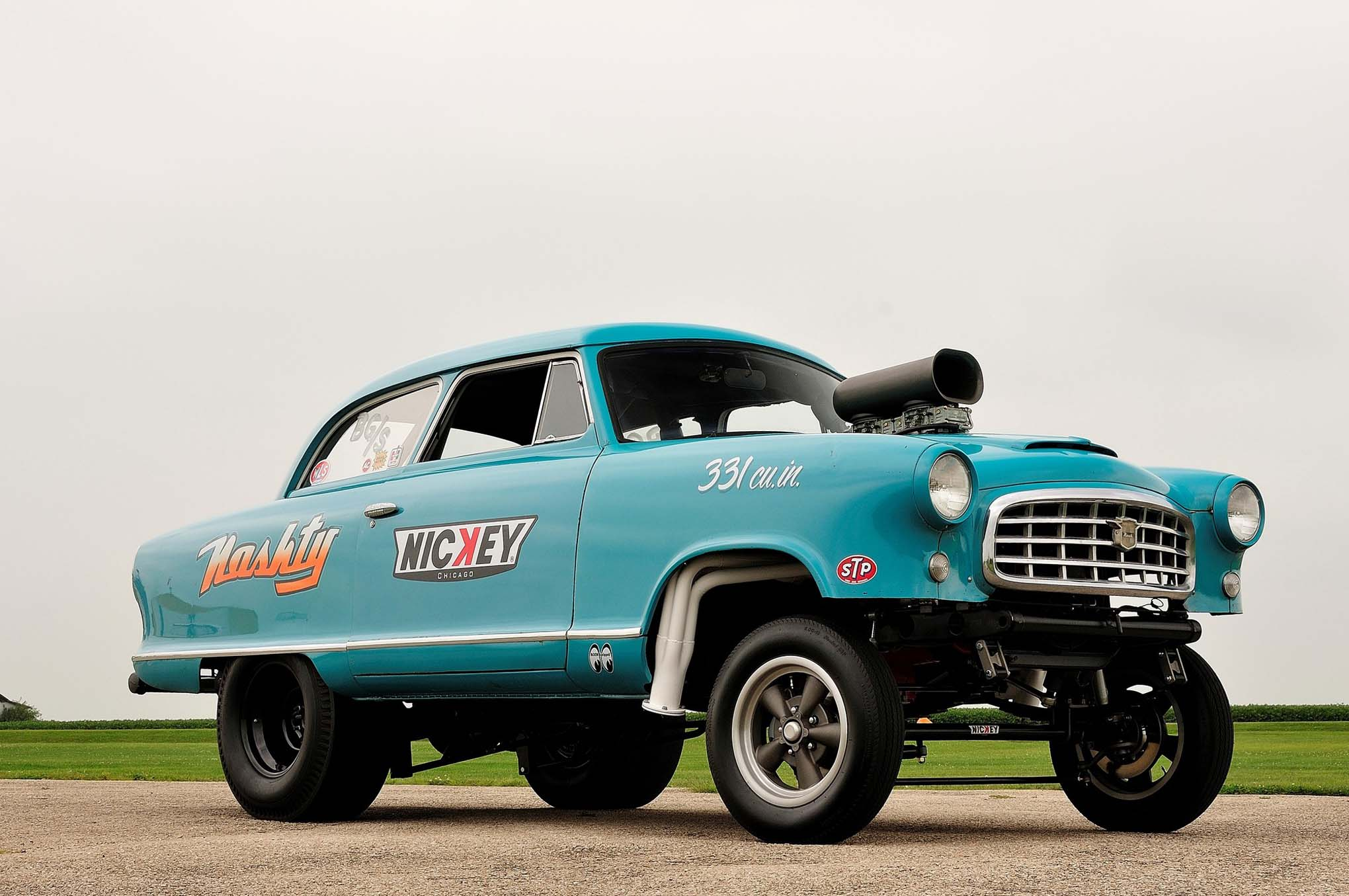 "When Nickey's John Tinberg wanted to go ""out of the box"" with a gasser build, no Tri-Five Chevy or Willys would do. But really, can you get any further out of the box than a unibody Nash?"