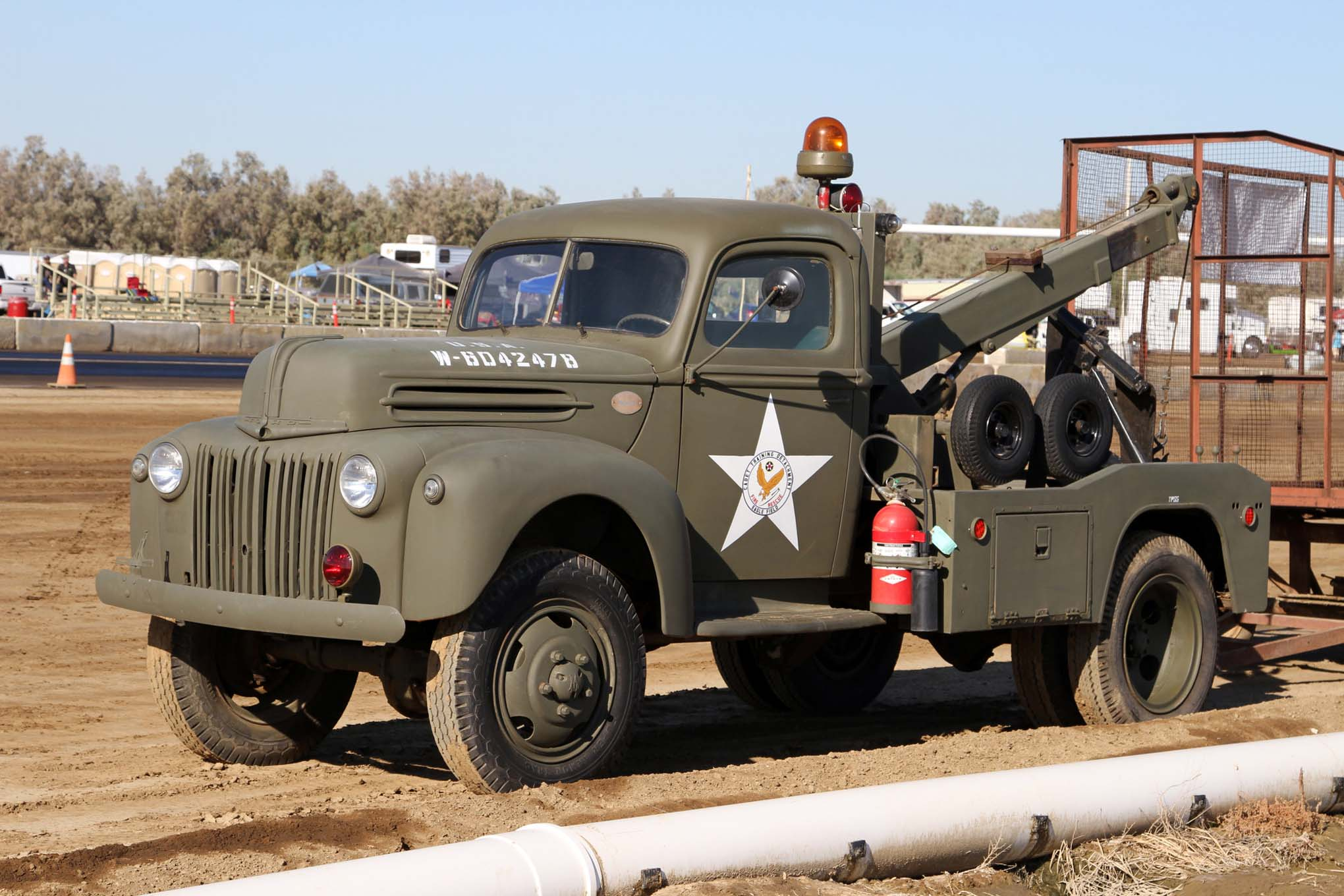 Most of the support vehicles and track equipment at Eagle Field are ex-military vehicles that have been restored, including the newly acquired '44 Ford military tow truck. Fortunately, it was not needed during the event.