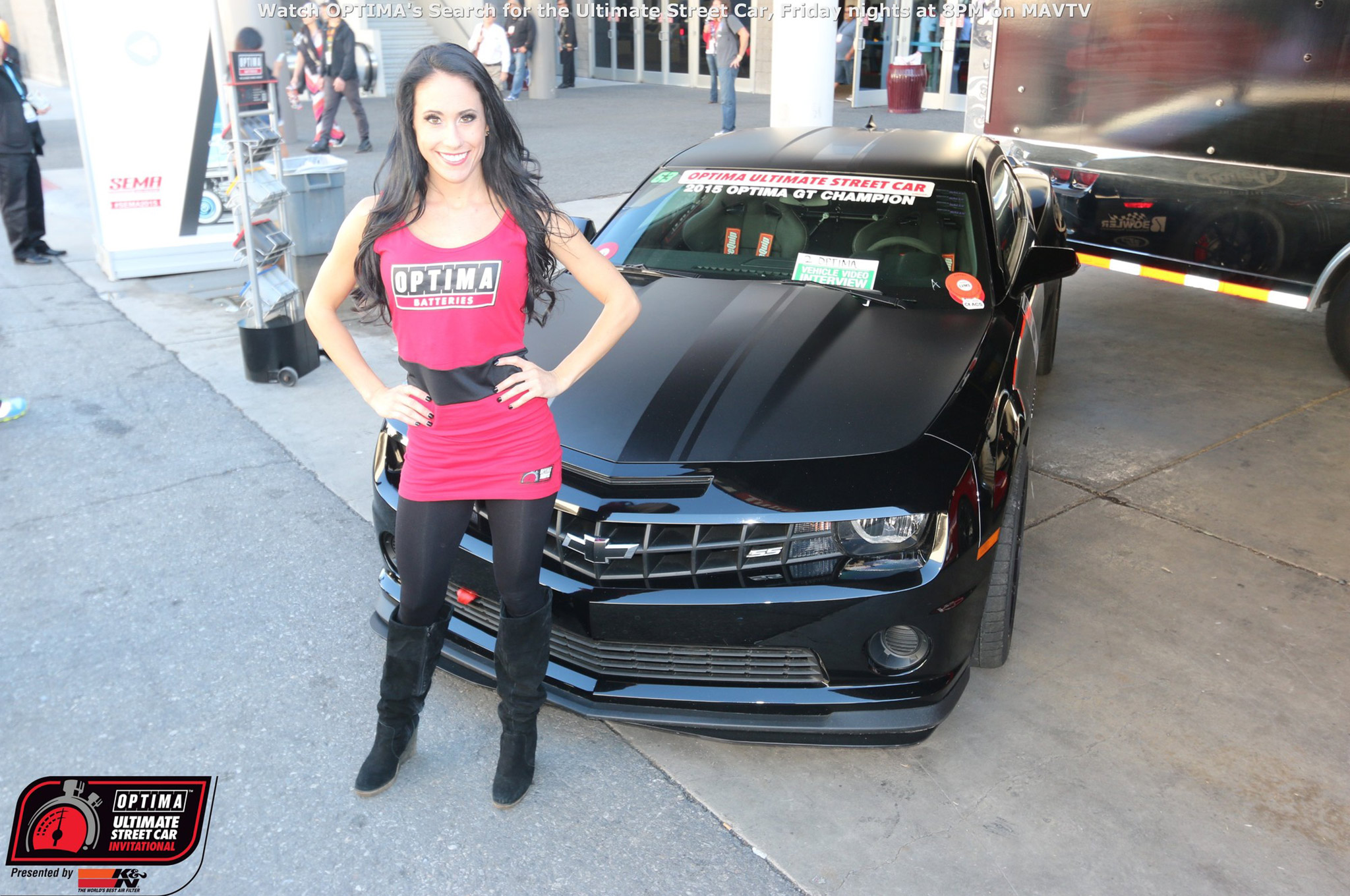 The regular season champions had their own location at SEMA in OPTIMA Alley. Bryan Johnson's Camaro won the GT class championship and was guarded throughout the week by one of the OPTIMA umbrella girls