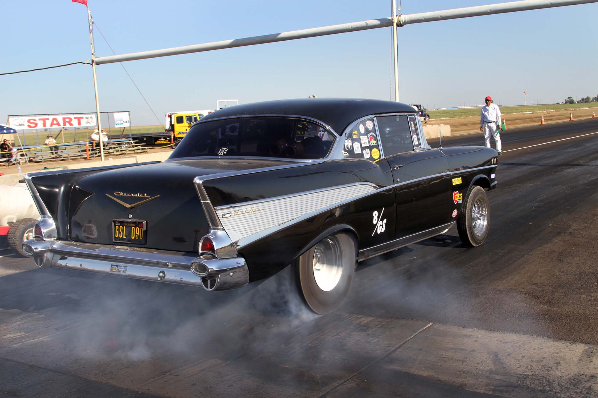Burnouts were very popular among spectators. The more smoke, the louder the cheers from the fans. The supercharged small-block Chevy and vintage-style pie crust drag slicks on this '57 Bel Air provided some of the best burnouts for fans during the event.