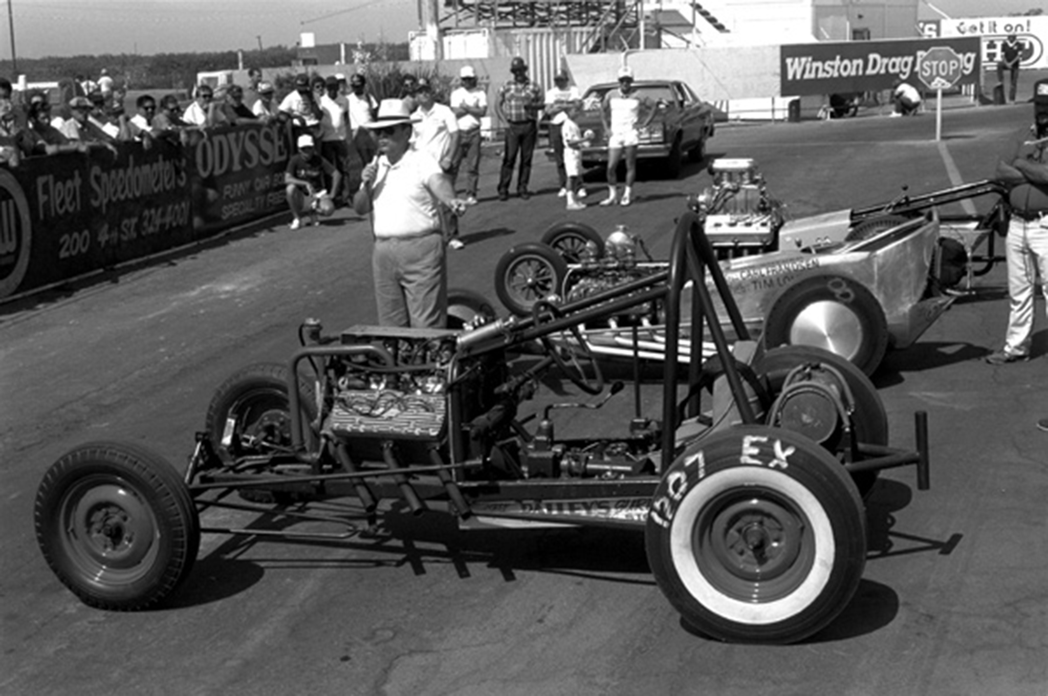 Conducting Dragster History 101 at the NDRA Finals, 1987.