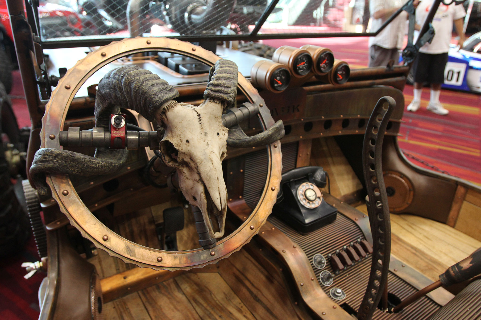 The interior sports a ton of repurposed items including the old pump handle transmission shifter.