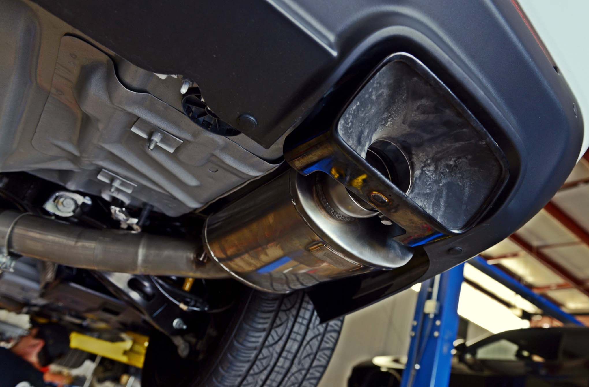 Original exhaust tips were reused for this application. Why not? They do the job and look sharp doing it.