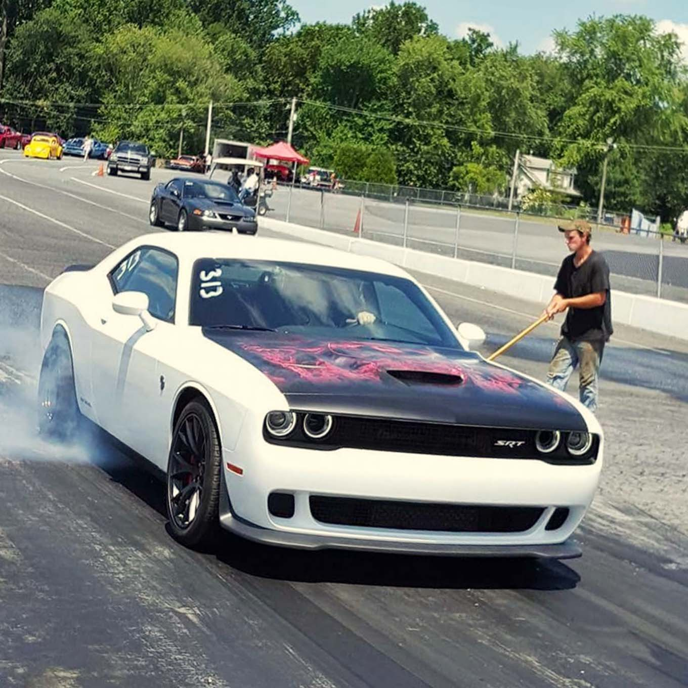 Schwartz did some additional tuning at Cecil County Raceway. His goal was to break this 'Cat out of its cage and step down into the single digits in the quarter-mile. His first go at it got the Hellcat to 10 seconds flat. With a little more tweaking Schwartz set a new bar for Hellcat performance with a national Hellcat record of 9.75 seconds in the quarter-mile.