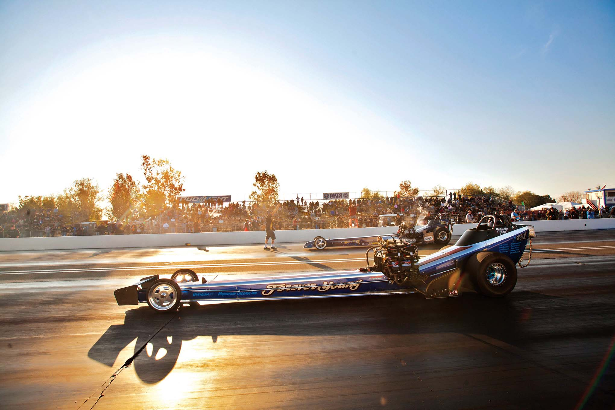 """Nitro Kitty"" Mendy Fry posted a semi-final finish in the ""Forever Young"" AA/Fuel Dragster."