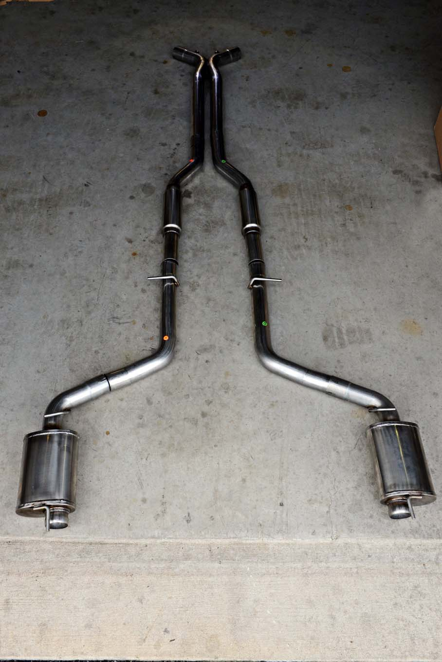 The American Racing Headers (ARH) exhaust system is made from 304-series stainless steel. The mufflers are American Racing Header's own performance mufflers, which are designed to allow for a crisp, throaty sound with the least restriction possible.