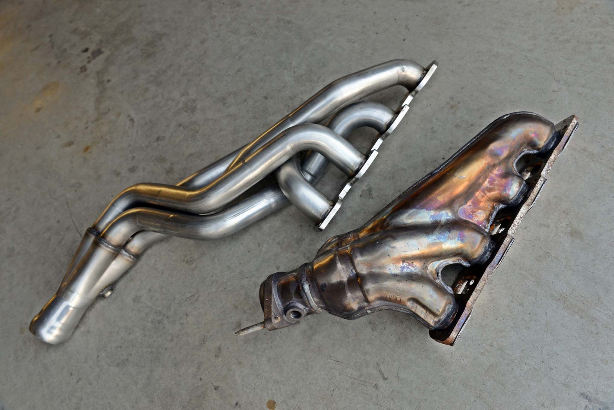 The factory Hellcat exhaust manifolds are impressive pieces, but they look weak next to ARH 2-inch- primary and 3-inch-collector long-tube headers. American Racing Headers reports its full exhaust system gives these cars an additional 39 hp and 39-lb-ft of torque at the rear wheels.