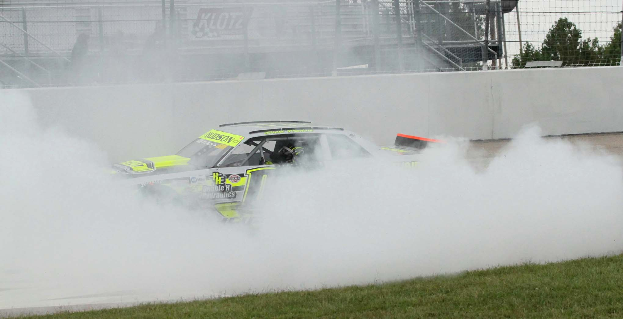 Brett Hudson is getting pretty good at these burnouts. Check out this disappearing act.