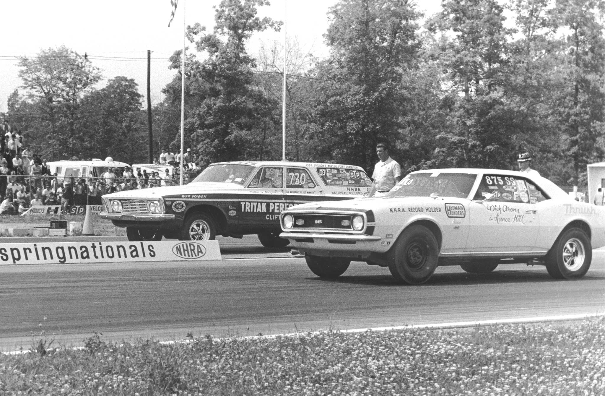 Billy Morgan, in the 1963 Plymouth War Wagon, and Dick Arons square off at the 1968 NHRA Springnationals in Englishtown. The Tritak & Morgan Max Wedge long-roof was a highly feared, multi-national event winner and record-holder. Arons was a frequent class winner and record-setter, and later a celebrated race engine builder.
