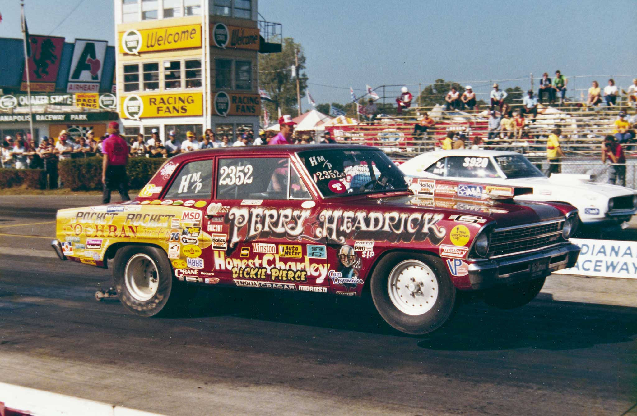 Driver Cotton Perry and engine builder Jim Hedrick hailed from Chattanooga, Tennessee. Their Chevy inline-six-powered Chevy II Pocket Rocket was a regular Nationals class winner, record-holder, and big-time threat to win Modified Eliminator on the divisional and national level.