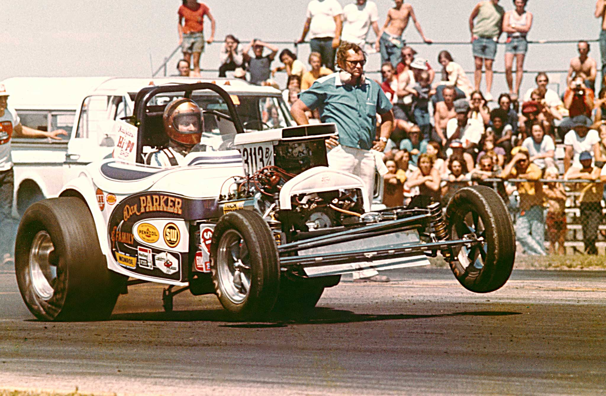 Westland, Michigan's Dan Parker bought this outdated Logghe Funny Car chassis for a dollar-store price and then repurposed it as a record-holding B/Altered. Dan's homebuilt, injected 426 Hemi had plenty of power and was a force in NHRA Division 3 Comp Eliminator in the early 1970s.