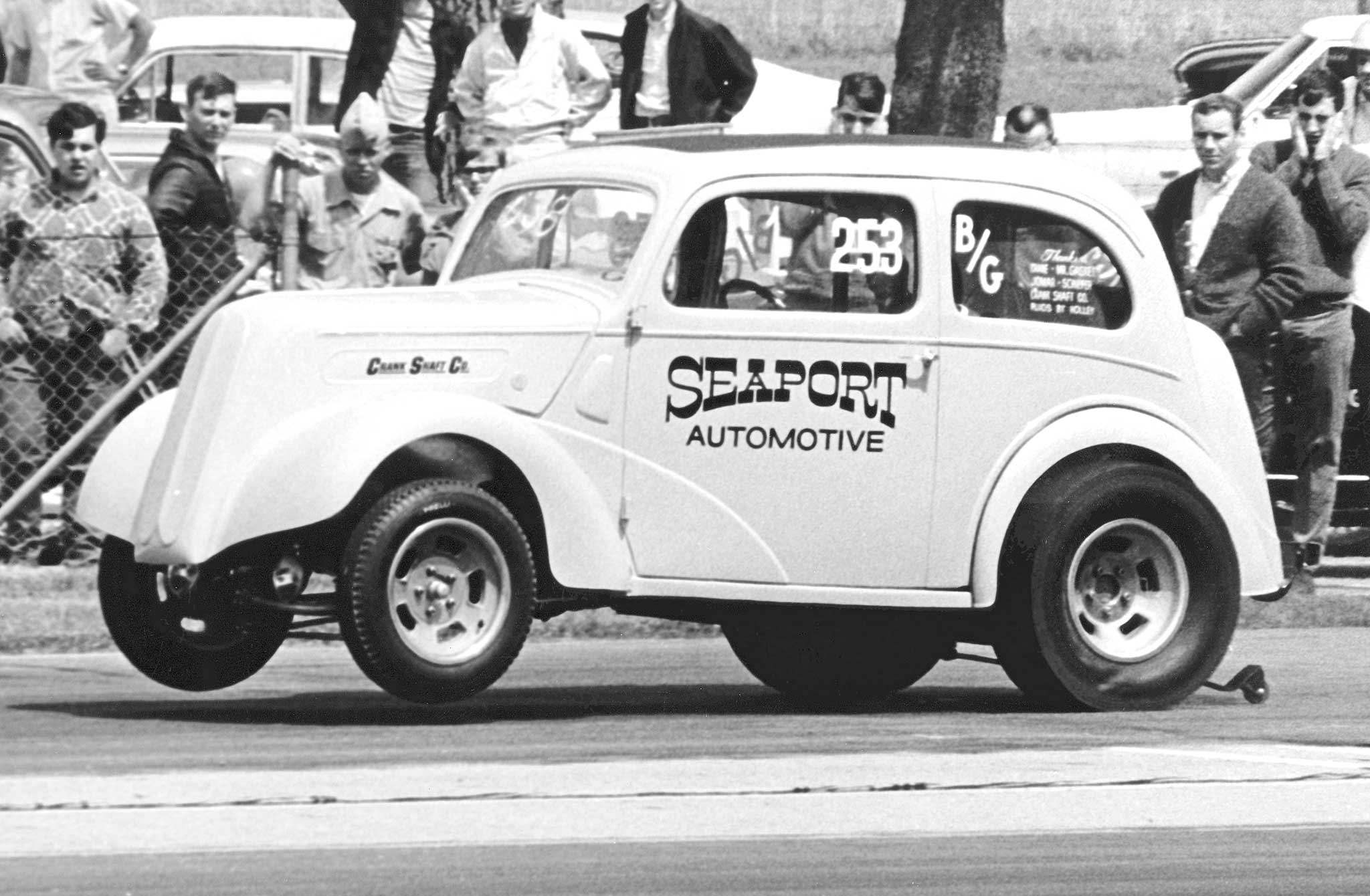 Toledo, Ohio's Dick Titsworth ran this clean 1948 Anglia in the 1960s, first as a Gasser and sometimes as an Altered. His Seaport Automotive was a northern Ohio force for race engines and machine work. He later ran alcohol Funny Cars with equal success.