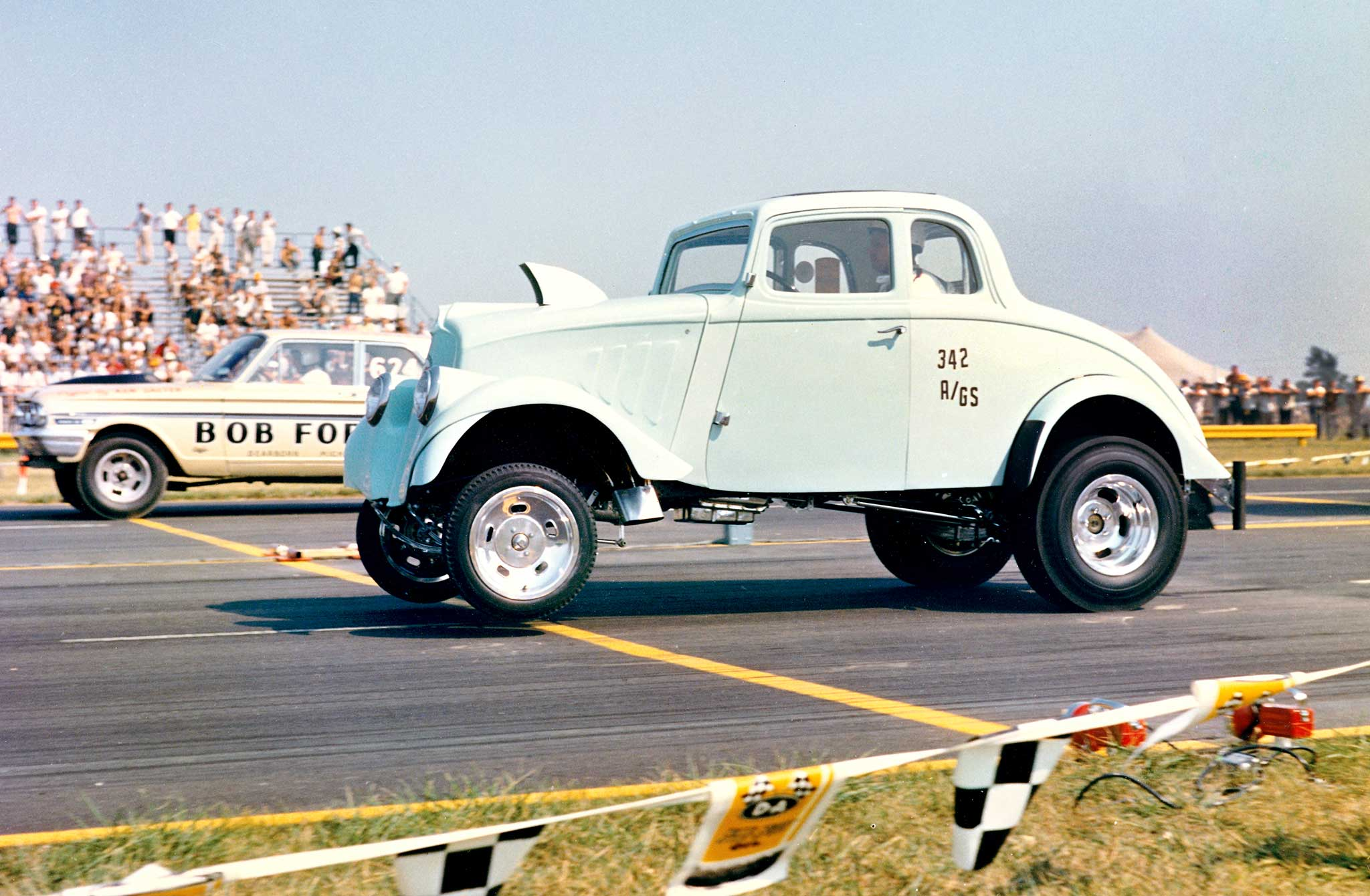 George Montgomery was one of the big guns in the 1960s Gasser Wars and was the annual favorite to win the Nationals A/GS and Middle Eliminator. His Willys was originally powered by a blown Cadillac, then a small-block Chevy. Finally, George stuffed in a supercharged SOHC.