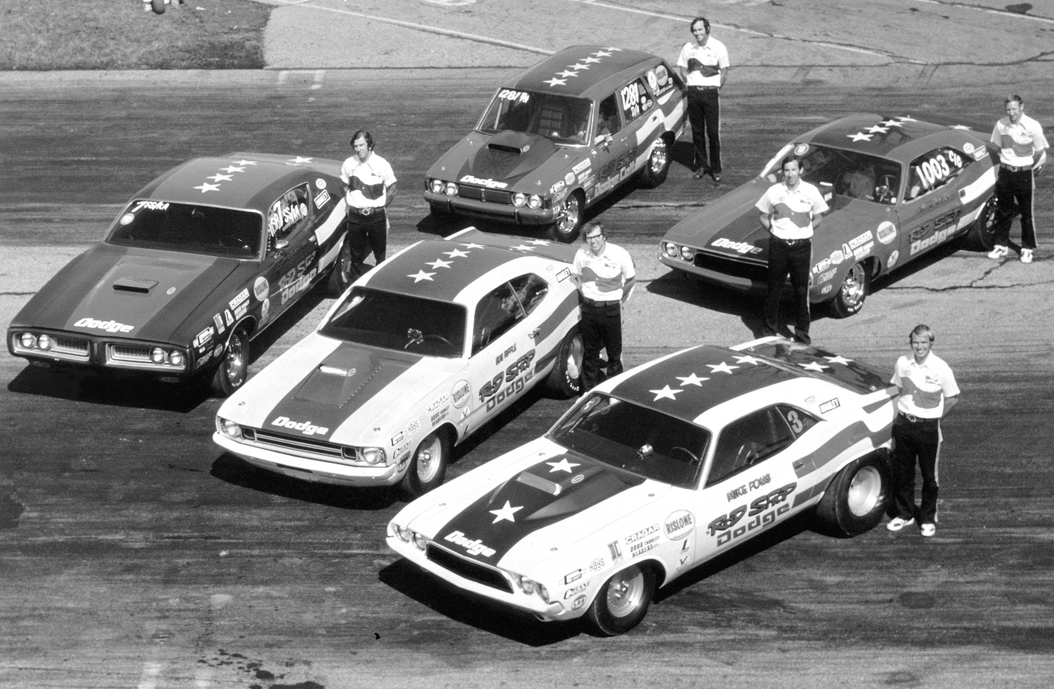 Columbus, Ohio, businessman and drag-racing fan Gilman Kirk used his marketing savvy to assemble a formidable and successful Sportsman team in the 1970s. The Rod Shop offered speed parts and engine and chassis work. Team racers scored class wins, set records, and won major event titles with distinctive paint and crew uniforms.
