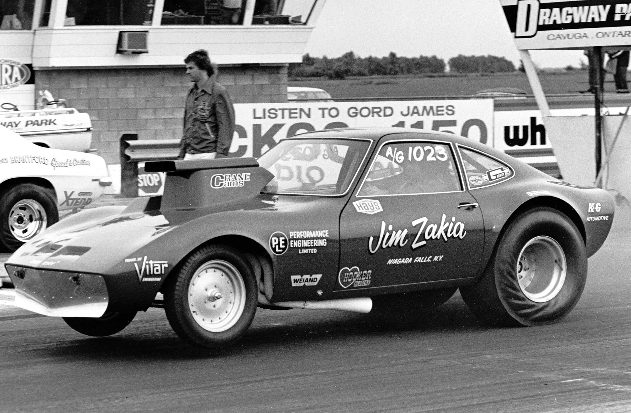 Jim Zakia's first race car was a 1955 Chevy, followed by an A/Gas 1948 Anglia. This Opel GT was his last, and fastest, A/Gasser. Zakia, from Niagara Falls, New York, saw through the mist to set the class record several times and win class at the Nationals. Here he runs at Dragway Park in Ontario, Canada.