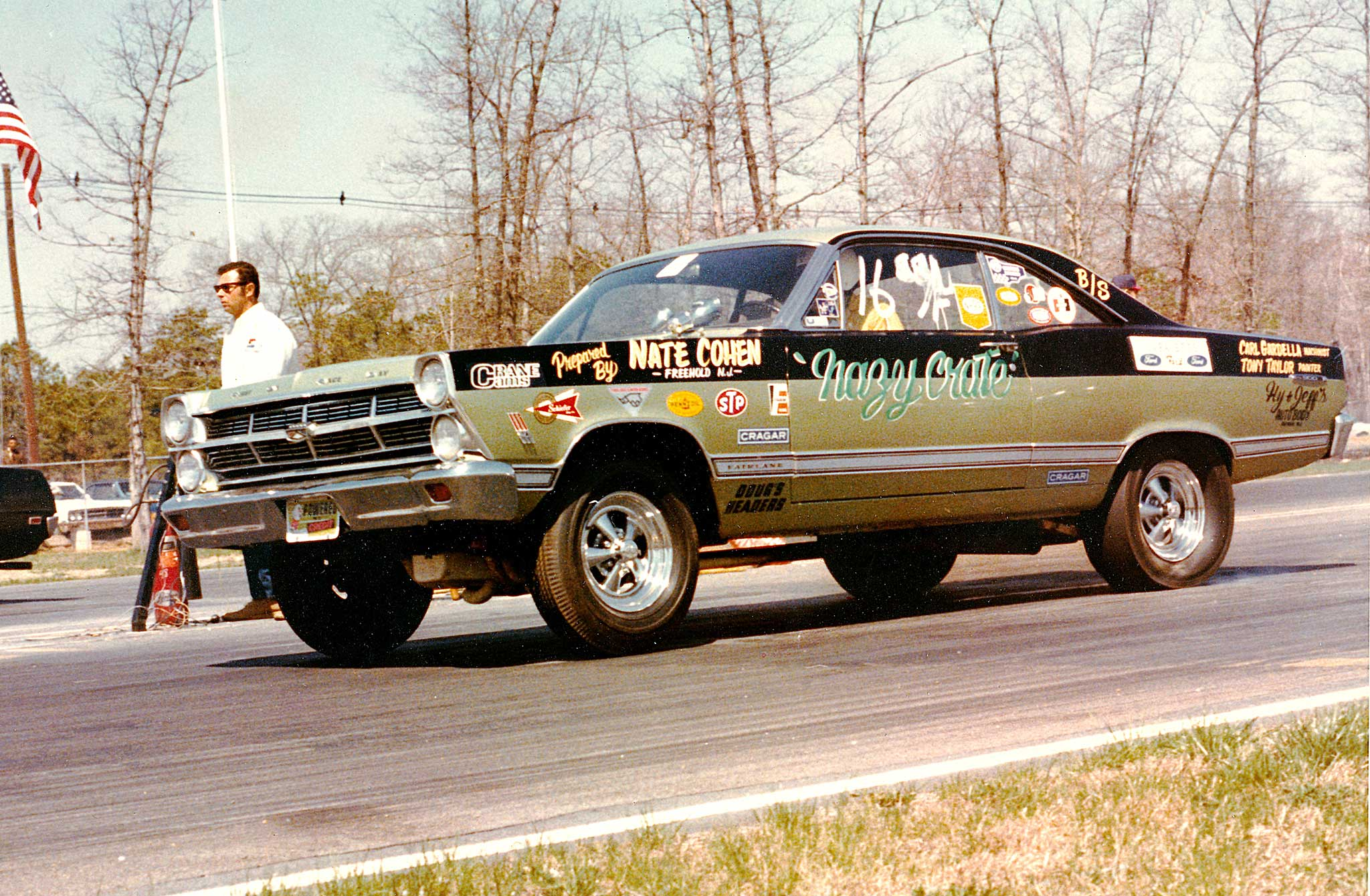 Nate Cohen, from Freehold, New Jersey, ran this 427 1967 Fairlane in Super Stock, capturing SS/F class at the 1968 NHRA Springnationals in Englishtown. Cohen was a regular at Eastern and Midwestern national events during the golden years.
