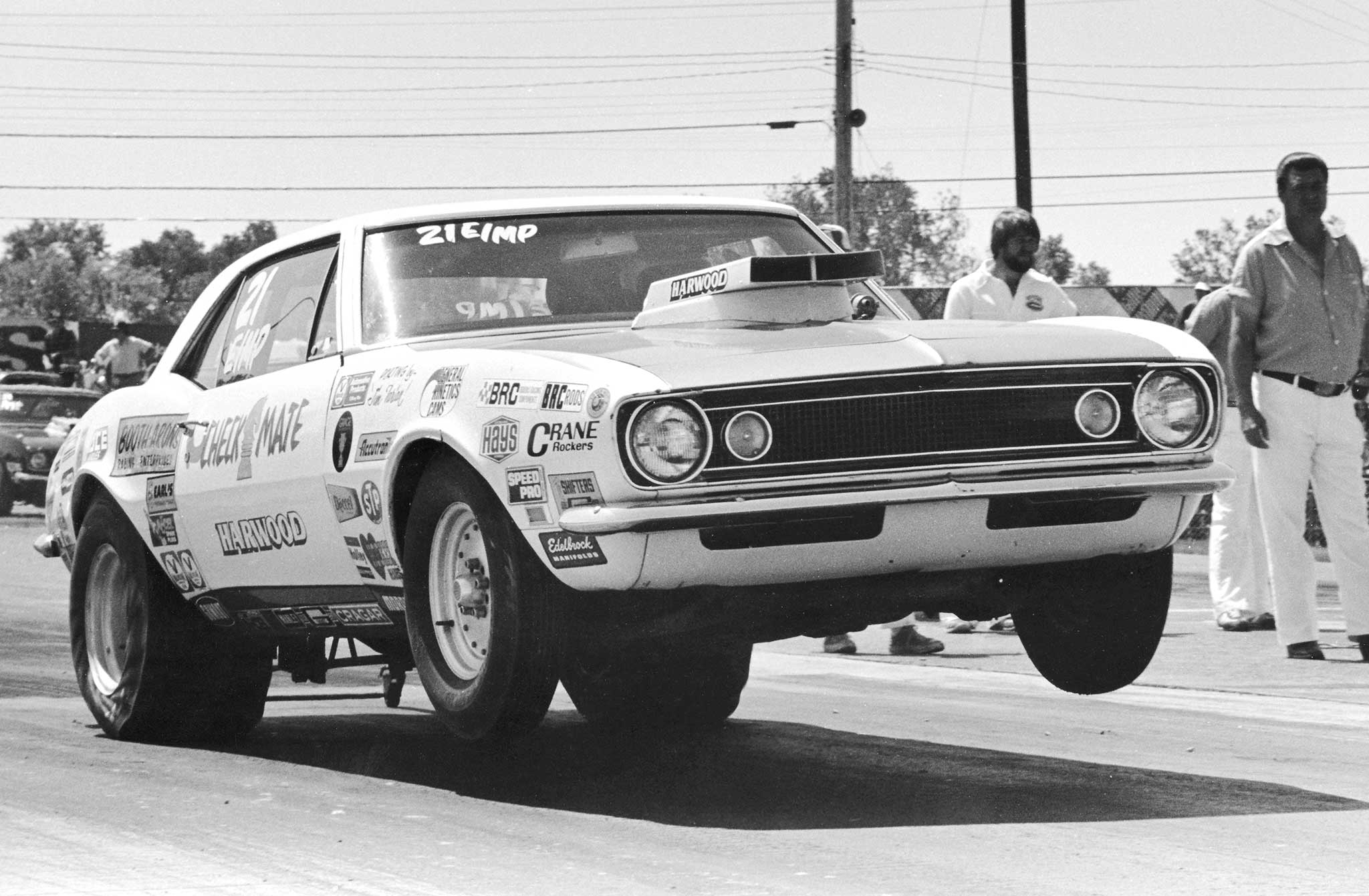 Paul Mercure's E/MP 1967 Camaro and teammate Paul Keener's similar D/MP featured interchangeable, small-block Chevy power from engine wizard Dick Arons. Both Check-Mate cars were multiple class winners and constant record-holders in the early and mid-1970s.