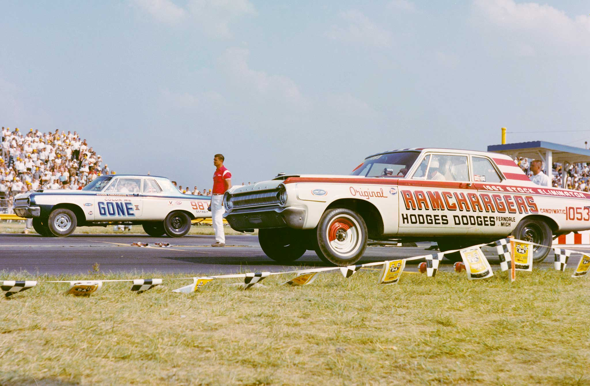 The Ramchargers was an afterhours drag-racing club comprised of Chrysler's brightest young engineers. Their Dodge Super/Stock dusted all at the 1965 Nationals with scienced-out 426 Hemi power and a Torqueflite transmission. Roger Lindamood's Color Me Gone was heavily influenced by the Ramchargers.