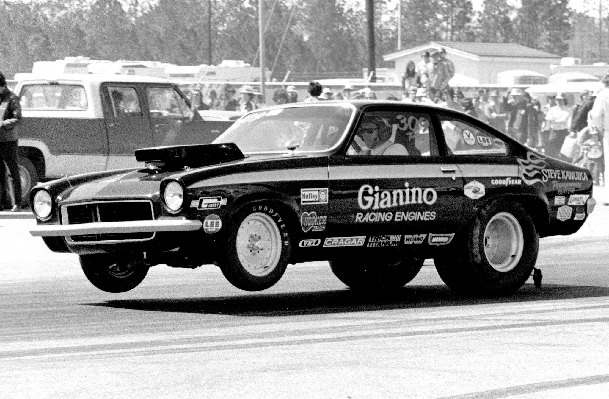 Sam Gianino, from Royal Oak, Michigan, won Street Eliminator at the Nationals in 1965 with a 1957 Corvette. In 1972 he applied Pro Stock technology to this B/Gas small-block Vega, cranking out 8-second e.t.'s with a Doug Nash five-speed.