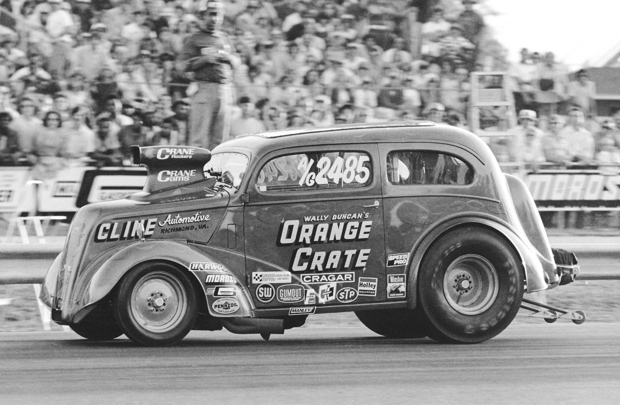 Virginian Wally Duncan's Orange Crate 1948 Anglia A/Gasser was an East Coast staple in Modified. The car sported a chopped-top, fiberglass front end, big-block Chevy, and a Formula 500 hoodscoop. It was a solid runner at divisional and national events.