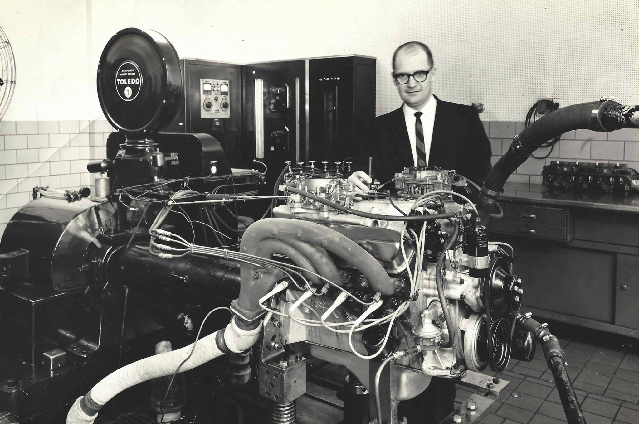 Mr. Hoover in the dyno room with a hot Max Wedge; soon after, the sound had a whole new pitch as Hemi development began to howl.