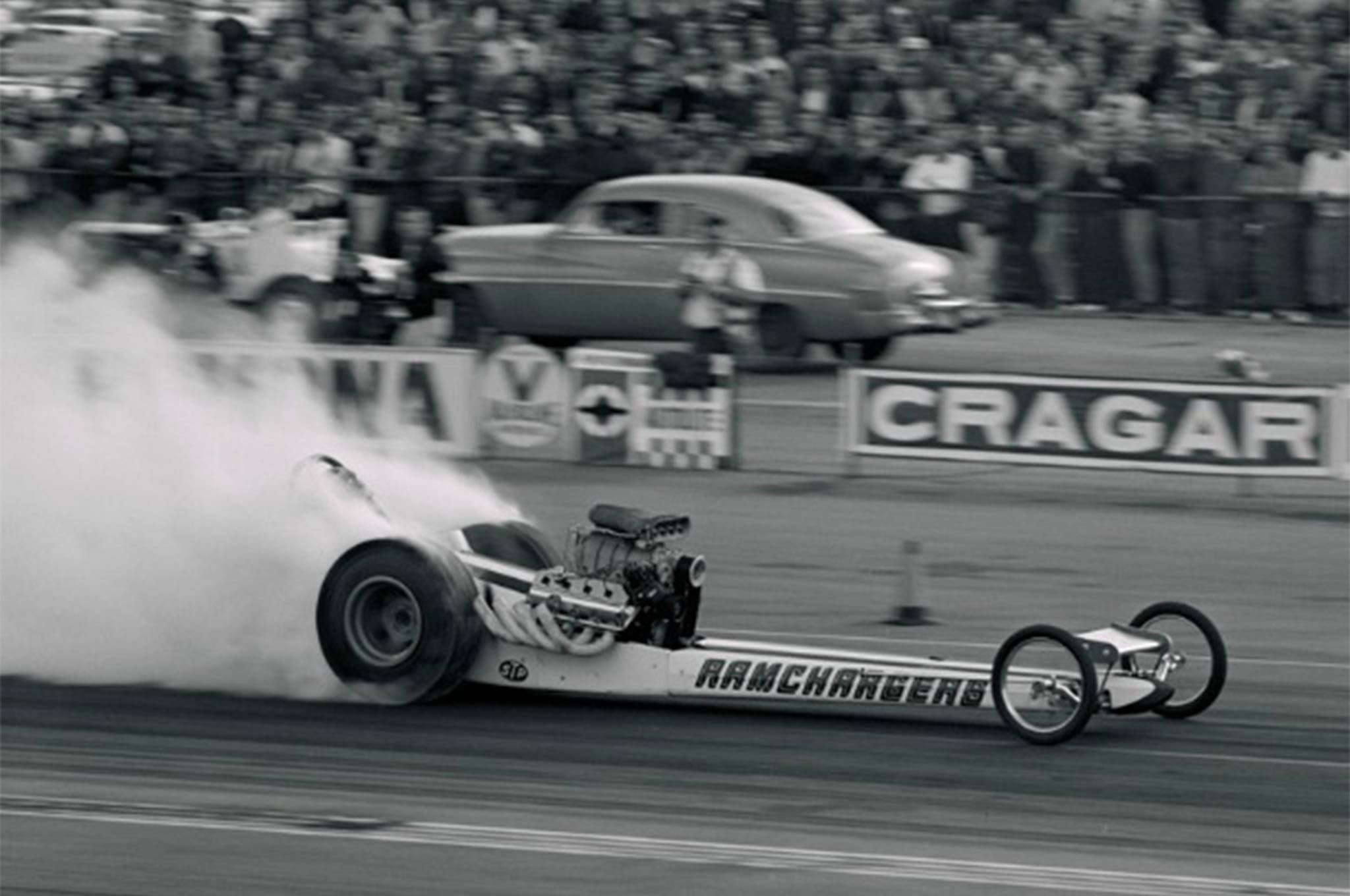 The Top Fuel car the Ramchargers team campaigned was a feared bogey. Leroy Goldstein would win the 1969 AHRA World title with it just before the team, now on its own, returned to the Funny Car ranks.