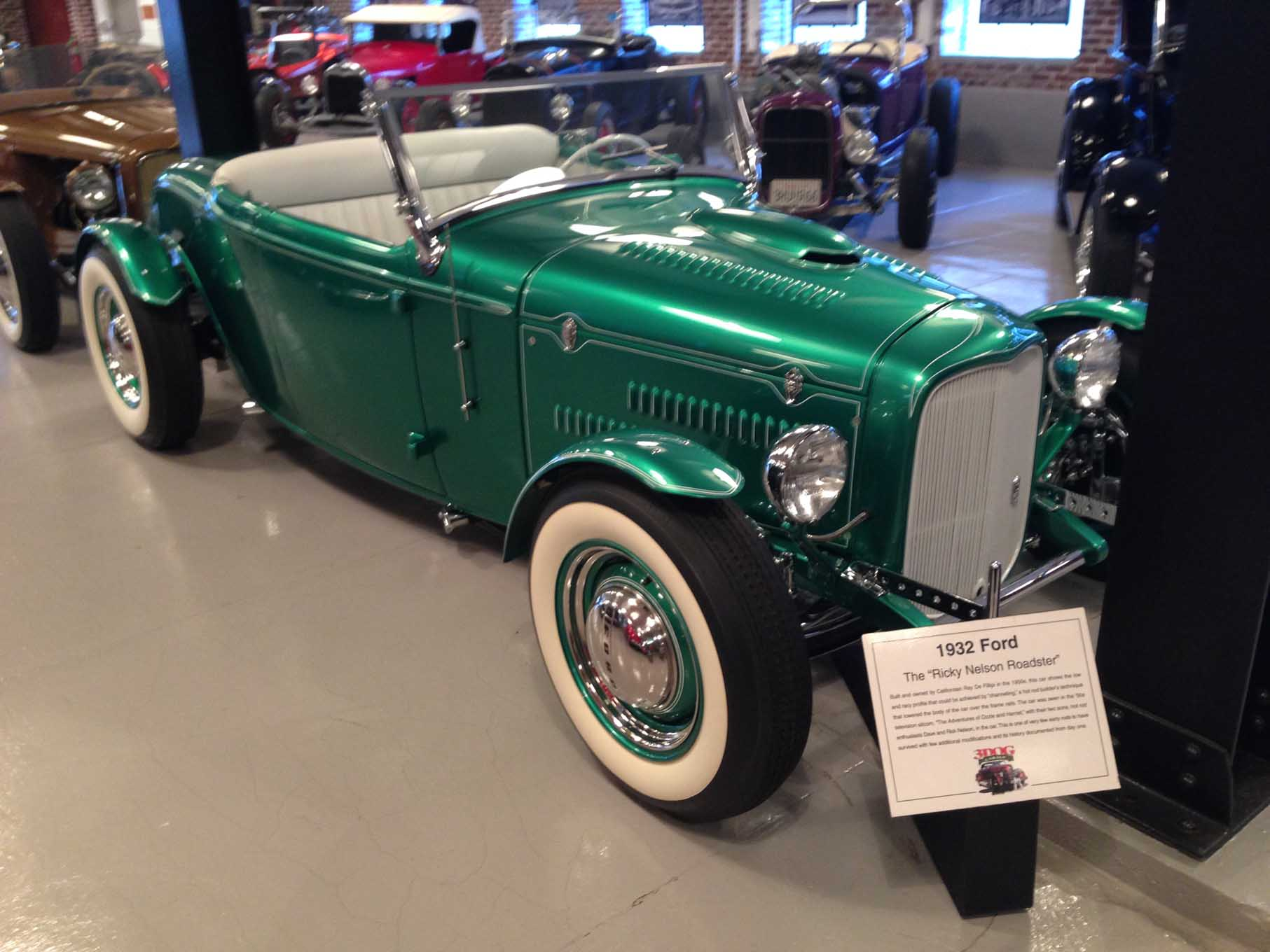 We were given a tour of the private car collection of Ross Myers at the 3 Dogs Garage. Ross has a great collection of early hot rods with some amazing history. This 1932 Ford was featured on the Ozzie and Harriett Show and is known as the Ricky Nelson Roadster.