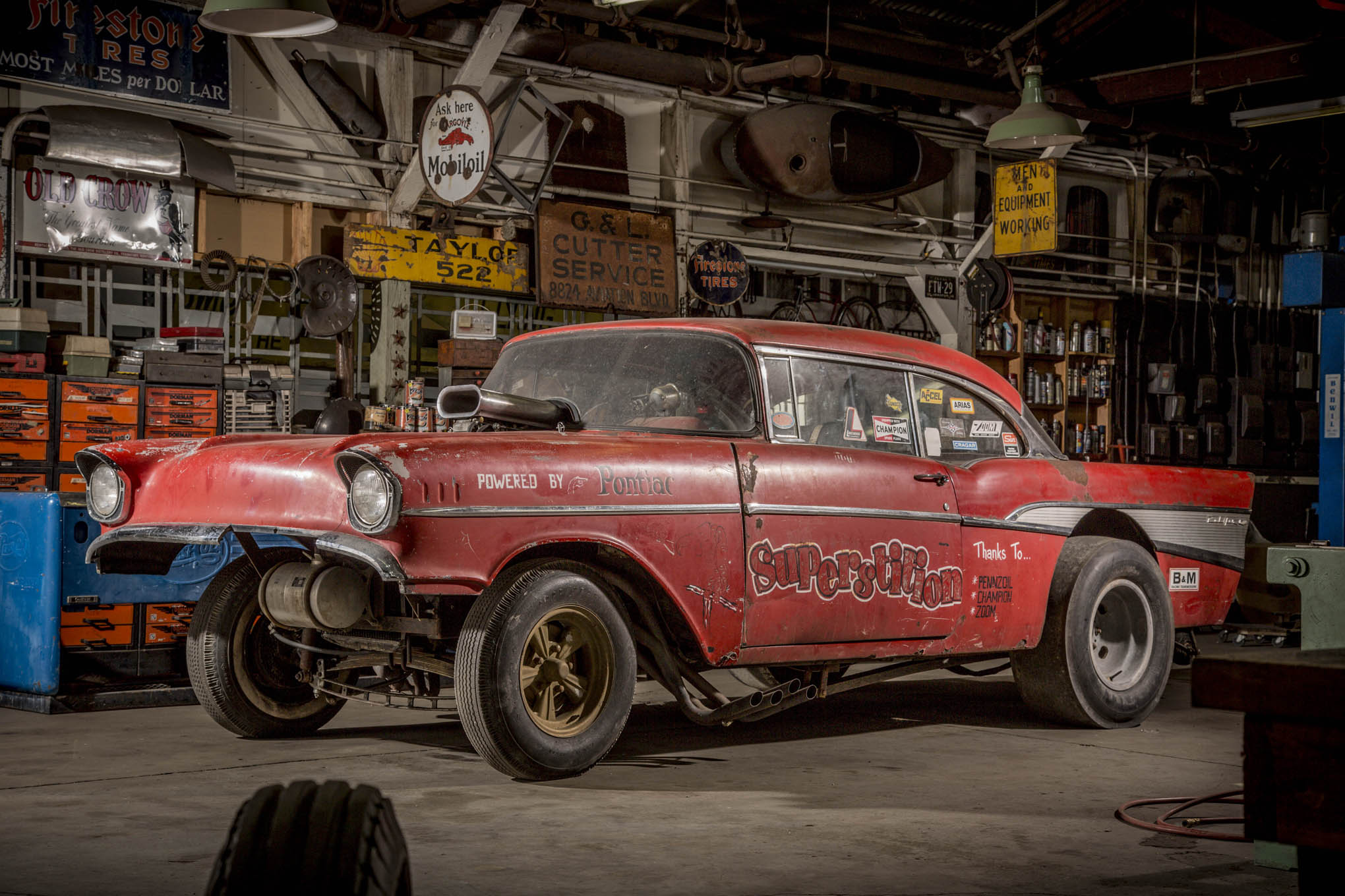 The time-machine nature of Brennen Van Sistine's Bel Air gasser is only enhanced by the throwback photo location at Delmo's Speed & Kustom in Southern California. If the bay looks familiar, that's because Del shares shop space with Old Crow's Bobby Green.