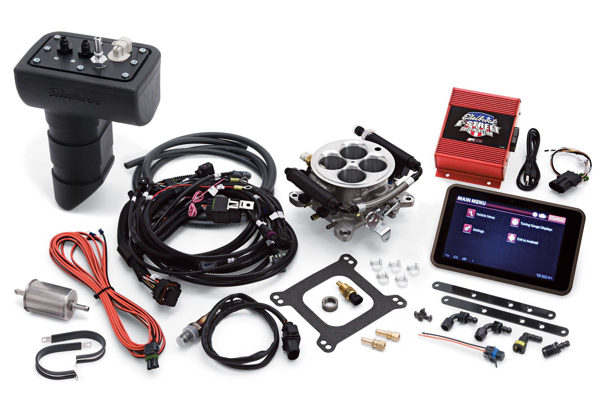 Edelbrock's E-Street EFI kit comes with everything necessary for installation. We opted to include the EFI Sump Fuel Pump kit.