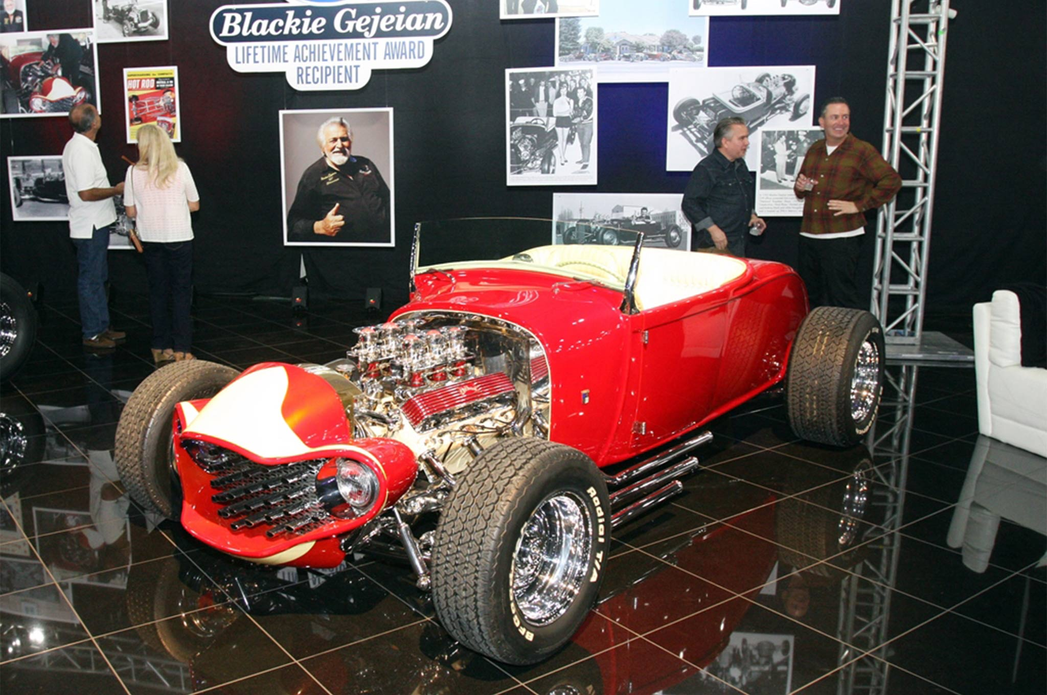 The Emperor was built by Blackie and Richard Peters of Ala Kart fame. The 1929 Ford roadster, owned by Chuck Krikorian won the America's Most Beautiful Roadster prize in 1960. Blackie owns it now.