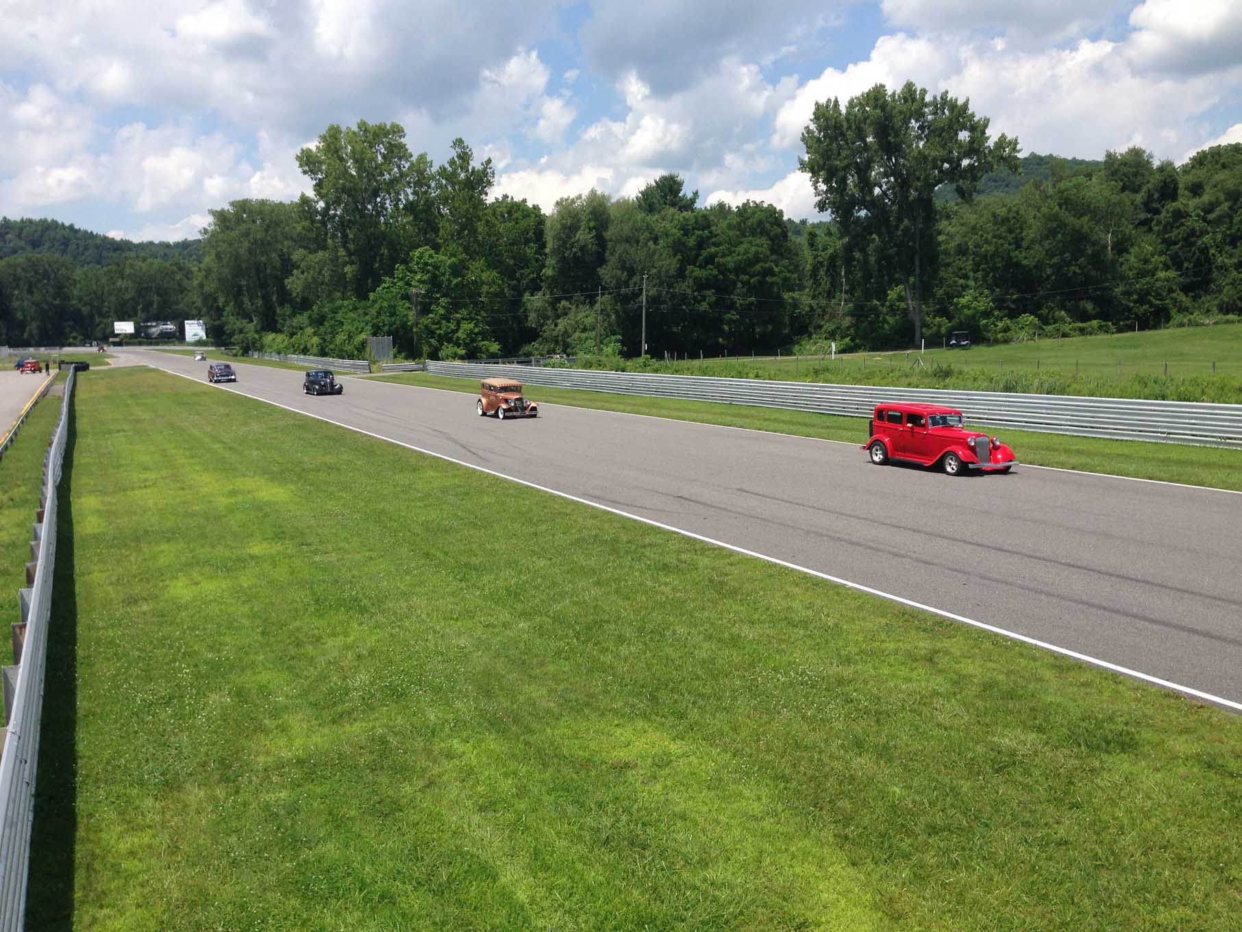 It is not often that folks get a chance to take some hot laps around a world class race course in their street rods. The great folks at Lime Rock Park in Salisbury, CT, let us do just that on Monday afternoon.  It was one of the high points of the week for many of the Road Tourians.