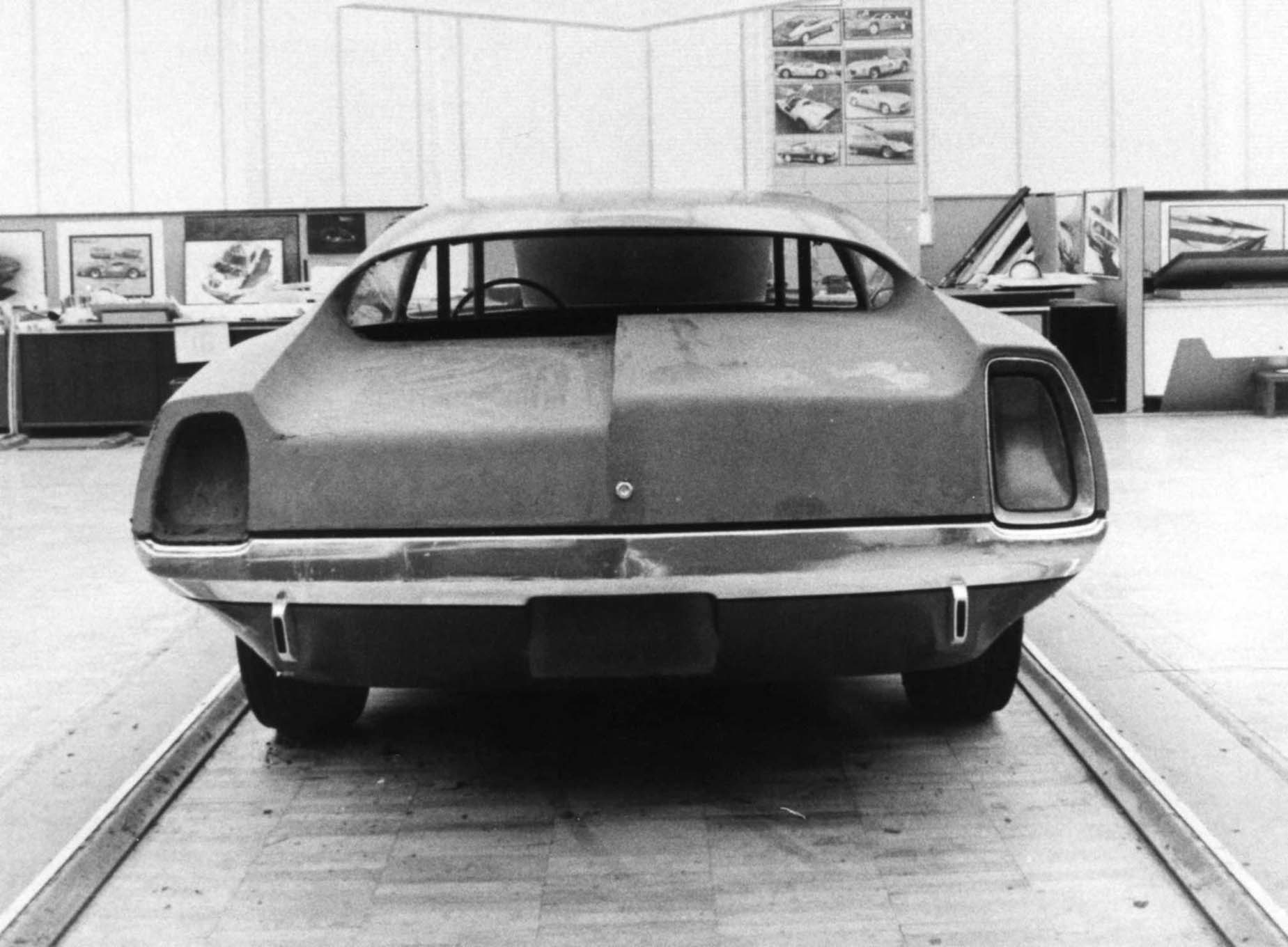 "The rear study, dated August 17, 1969, had two different tail lamp proposals, with lamp height predicated on the height of the rear deck. The tunnel-back roof lent itself better to the lower deck height. We detect a slight hint of ""Cordoba"" in the lamp treatments."