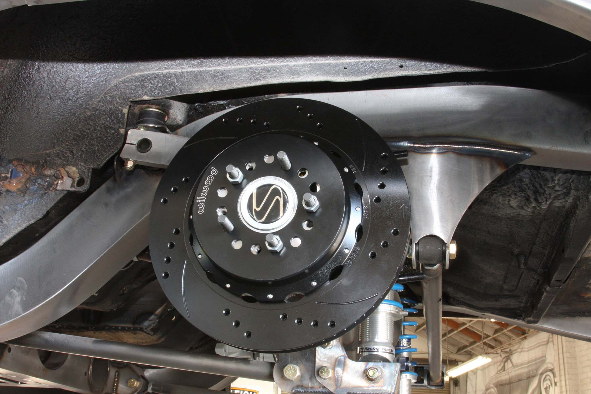 Wilwood's combination hat and parking brake drum is compact and effective while hiding all the inner workings.