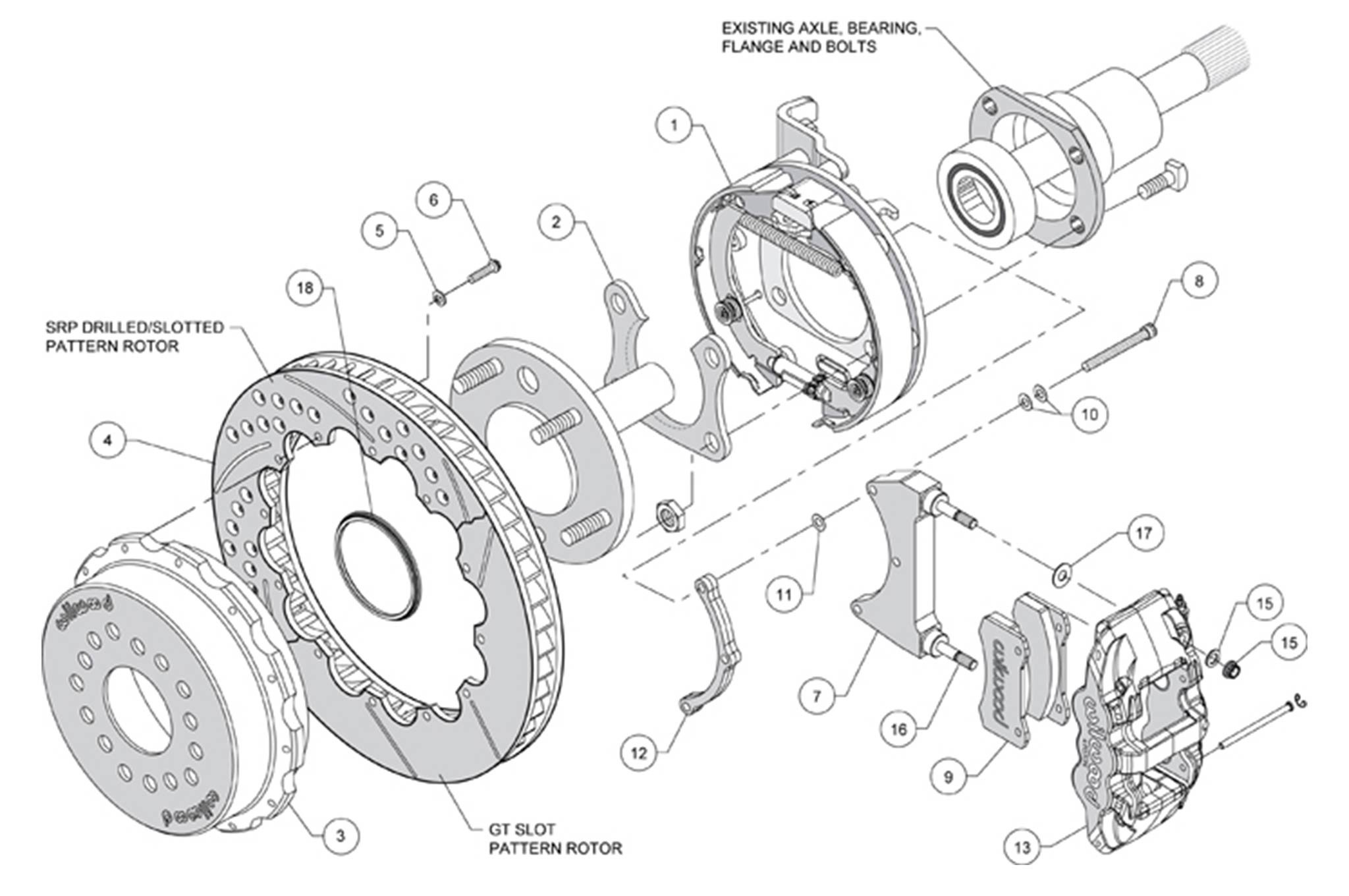 This exploded views shows all the components of the rear discs and the parking brake assembly.