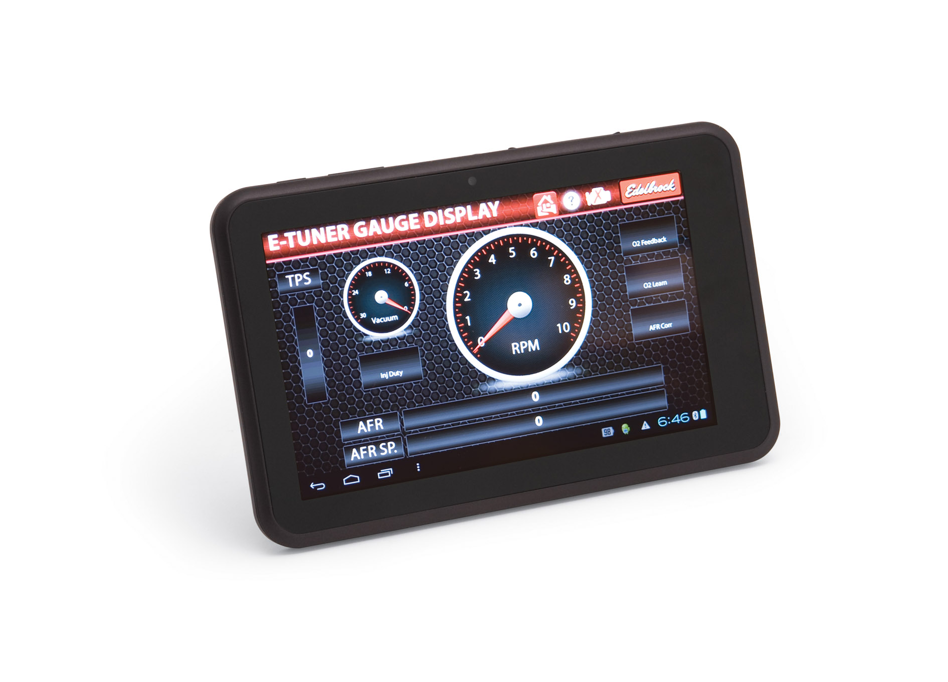 The tablet also serves as a digital gauge cluster for engine monitoring while driving or it can be removed after the system is up and running.