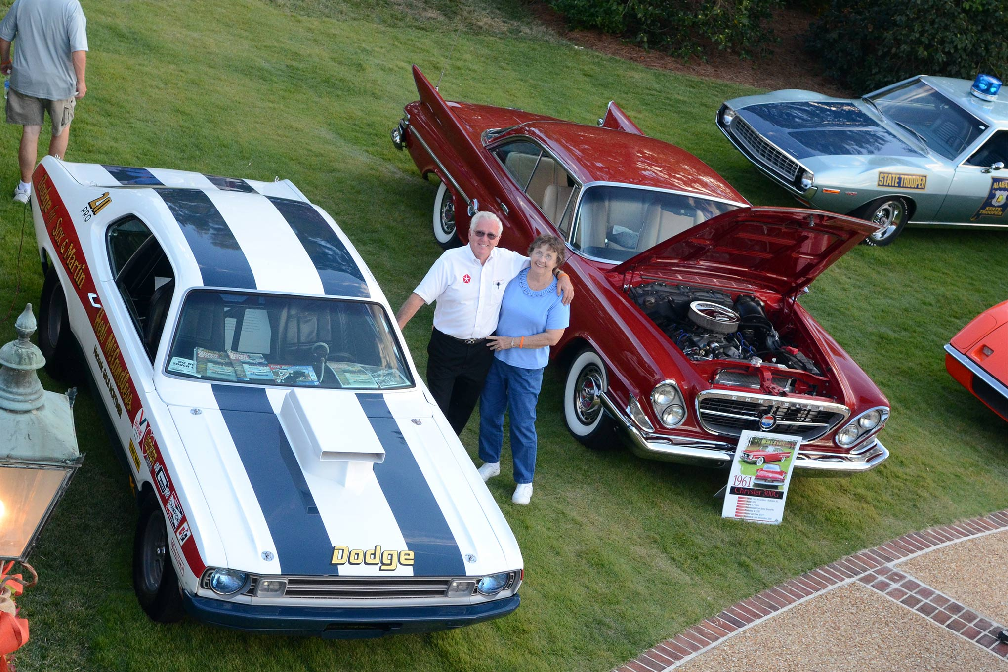 Legendary Pro Stock racer Herb McCandless and his wife, Marie. The restored Demon belongs to Todd Werner, and the 300G is Herb's repowered street cruiser.