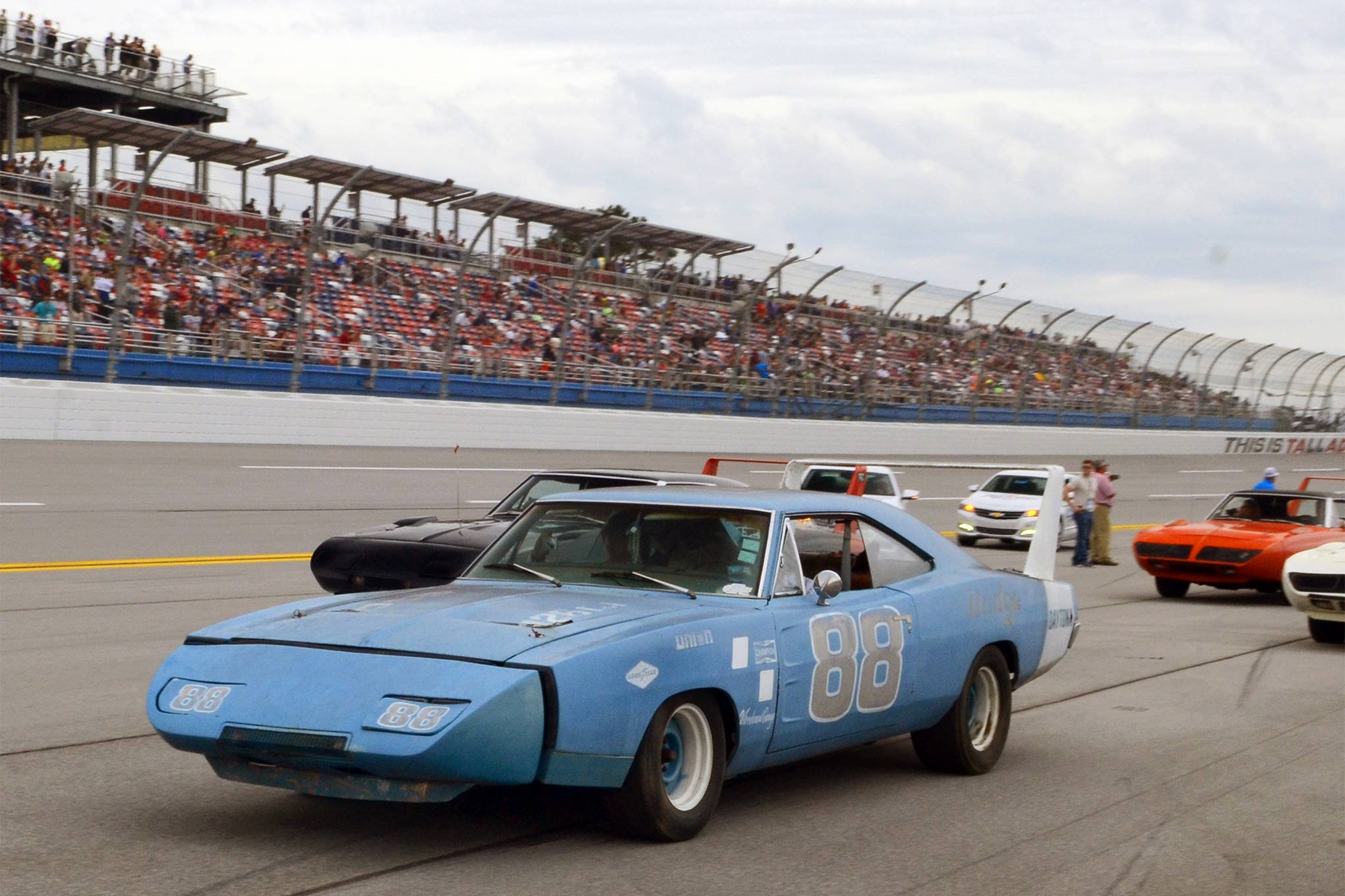 The 200-mph No. 88 engineering car was later used for racing, and a very nice replacement was later created by Chrysler for display. This version is a well-worn street car that actually looks very old school—a sort of wing-car rat rod.