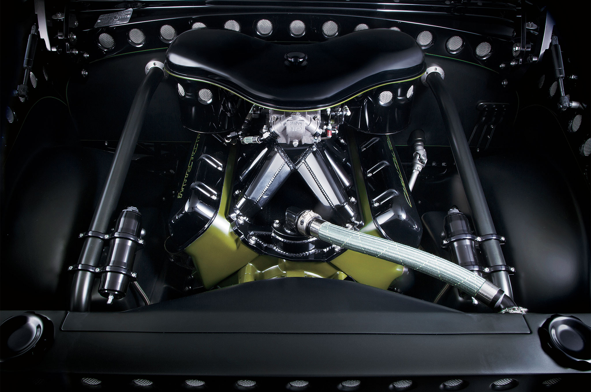 A 355-inch Rodeck block was built by FX Engines with a sheetmetal intake by Hogan Racing with a Holley 750-cfm four-barrel.