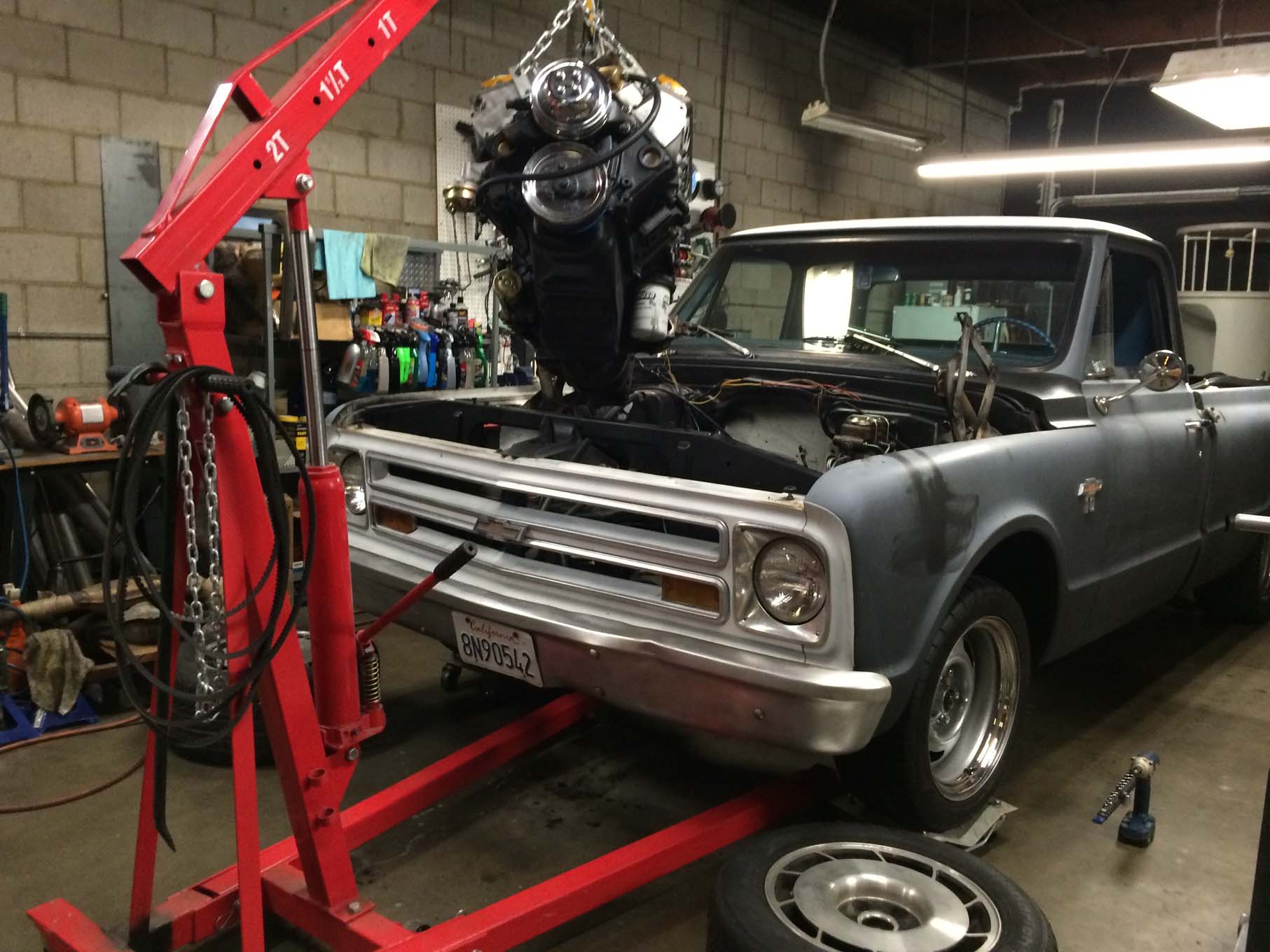 Though we knew it from the start, the only way to fix the oil-consumption problem was to remove and disassemble the engine, so we rolled Truck back into the warehome and got to work.