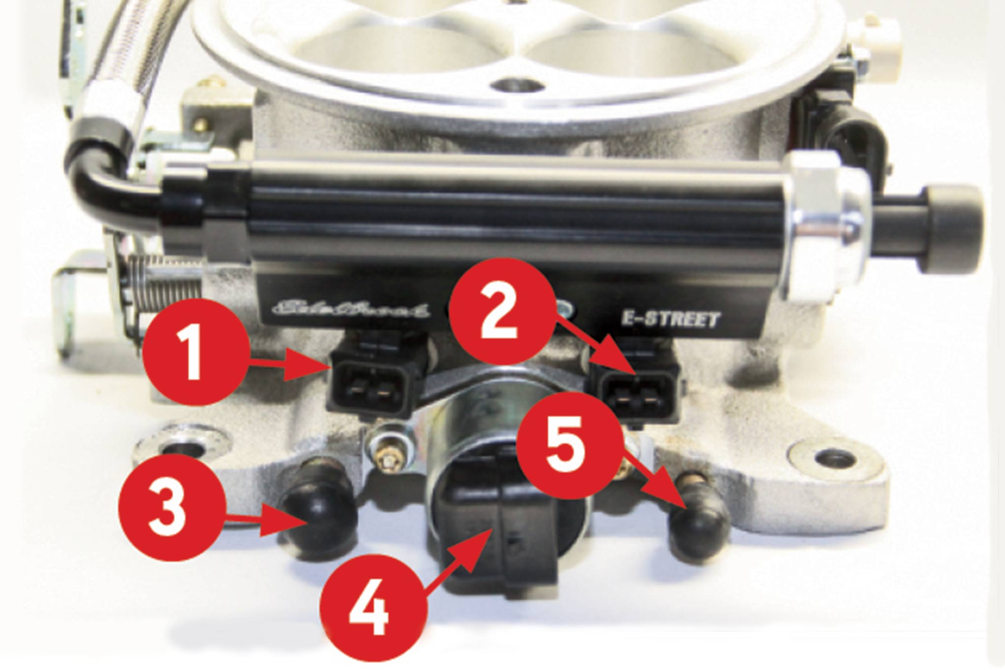 The rear of the throttle body has a pair of injectors (1 and 2), power brake port (3), idle air control valve (4), automatic trans vacuum port (5).