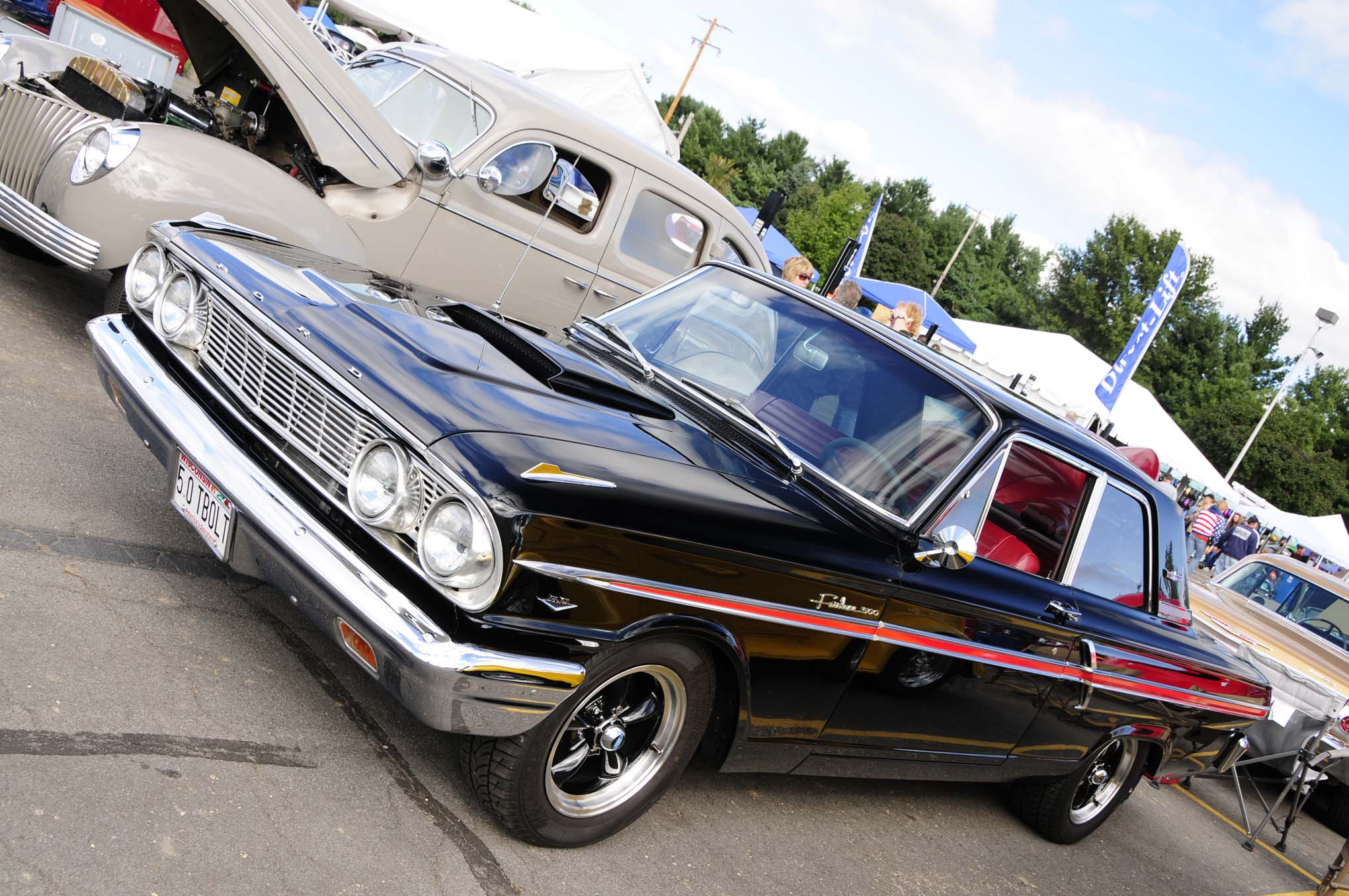 Looking like it was ready to take on contenders at the local dragstrip, L. Breier's 1964 jet-black Ford Fairlane 500 had an aggressive stance and plenty of attitude.